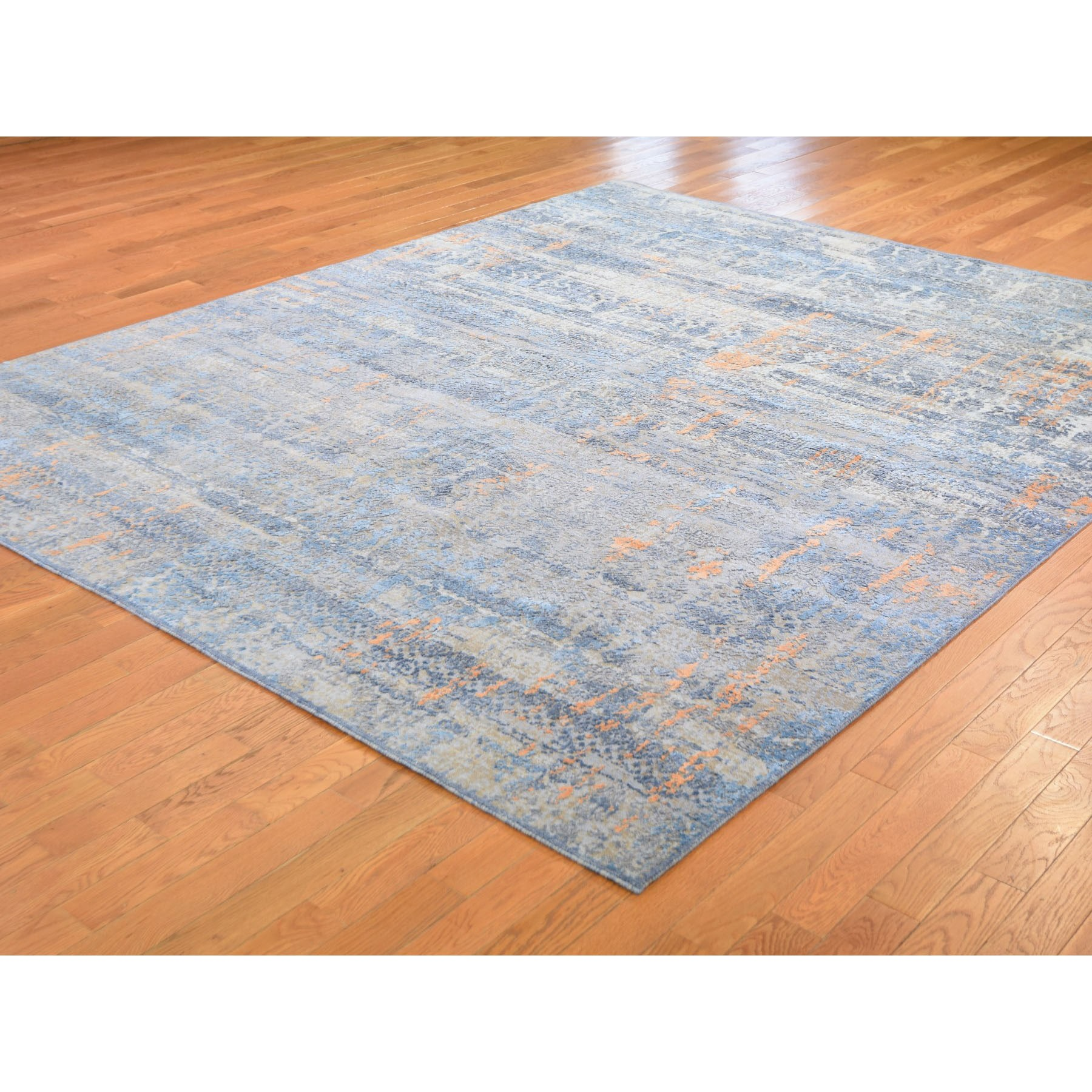 8-x10-  Light Blue Silk With Textured Wool Abstract Dripping Design Hand Knotted Oriental Rug
