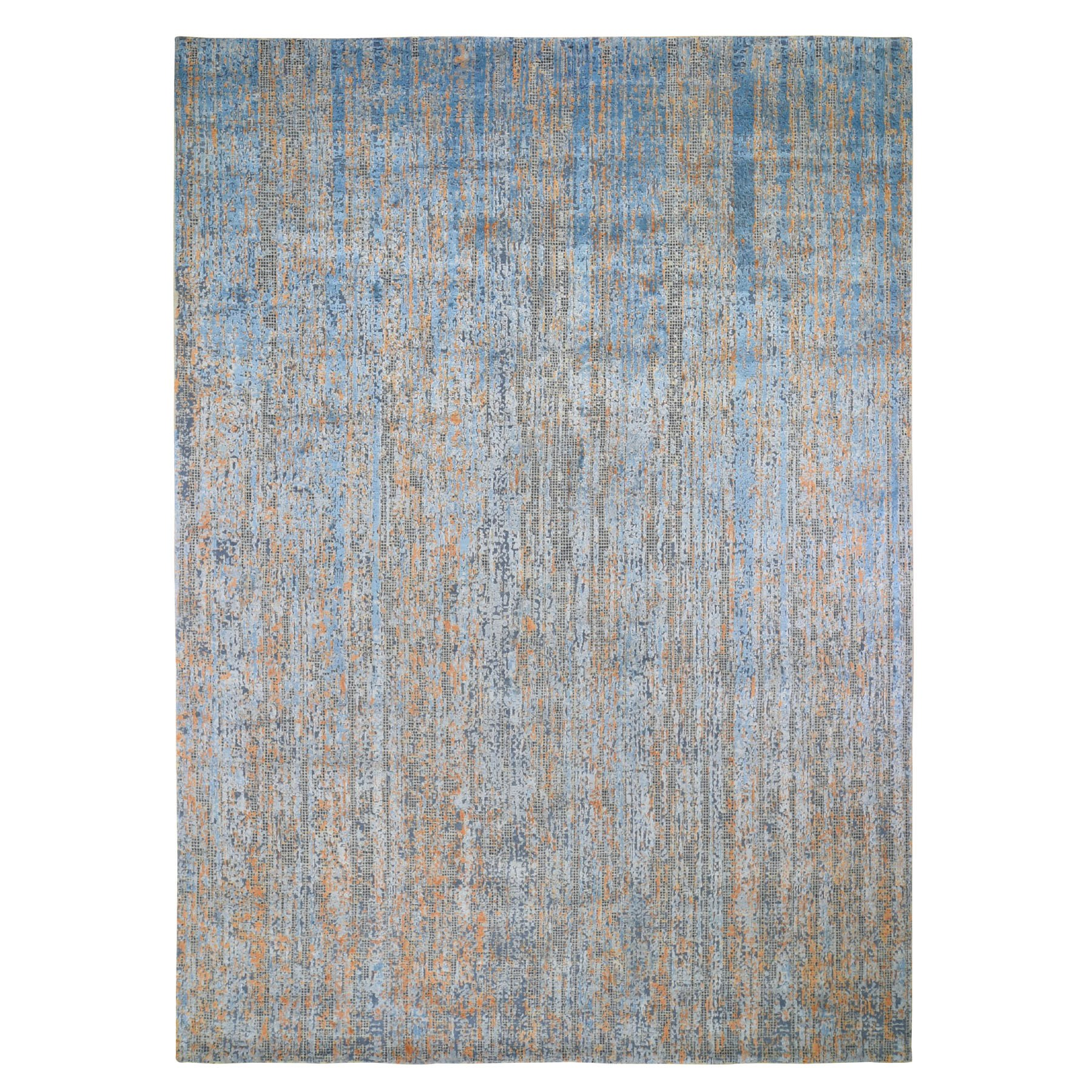 "8'10""X12'2"" Water Dripping Design Silk With Textured Wool Hand Knotted Oriental Rug moad9077"