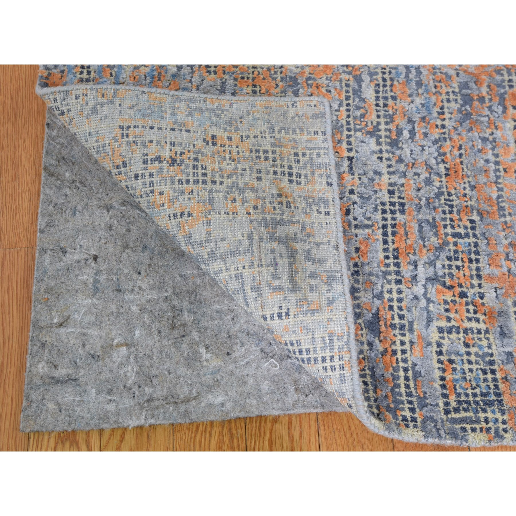 "8'10""x12'2"" Water Dripping Design Silk With Textured Wool Hand Knotted Oriental Rug"