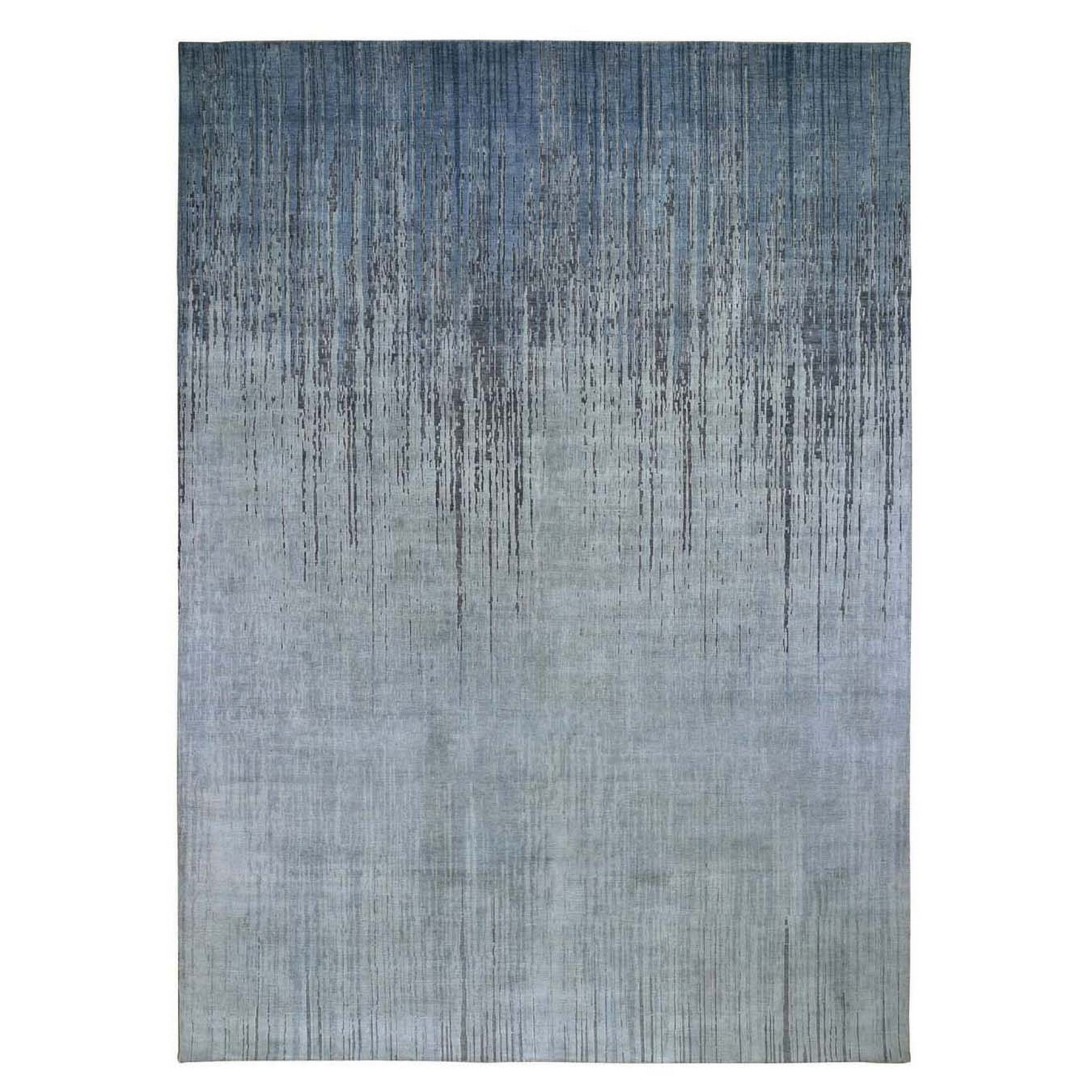 "9'X12'1"" Gray Ombre Design Pure Silk Hand Knotted Oriental Rug moad9078"