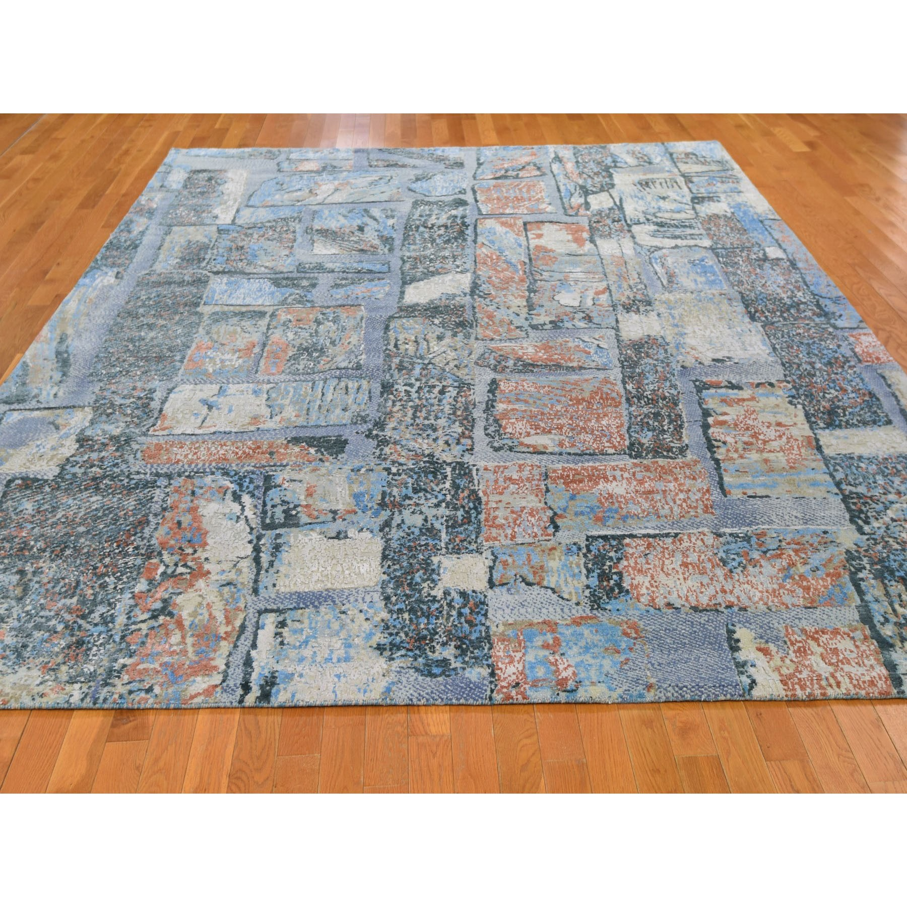 "9'x12'2"" Brick Design Modern Thick and Plush Hand Knotted Oriental Rug"