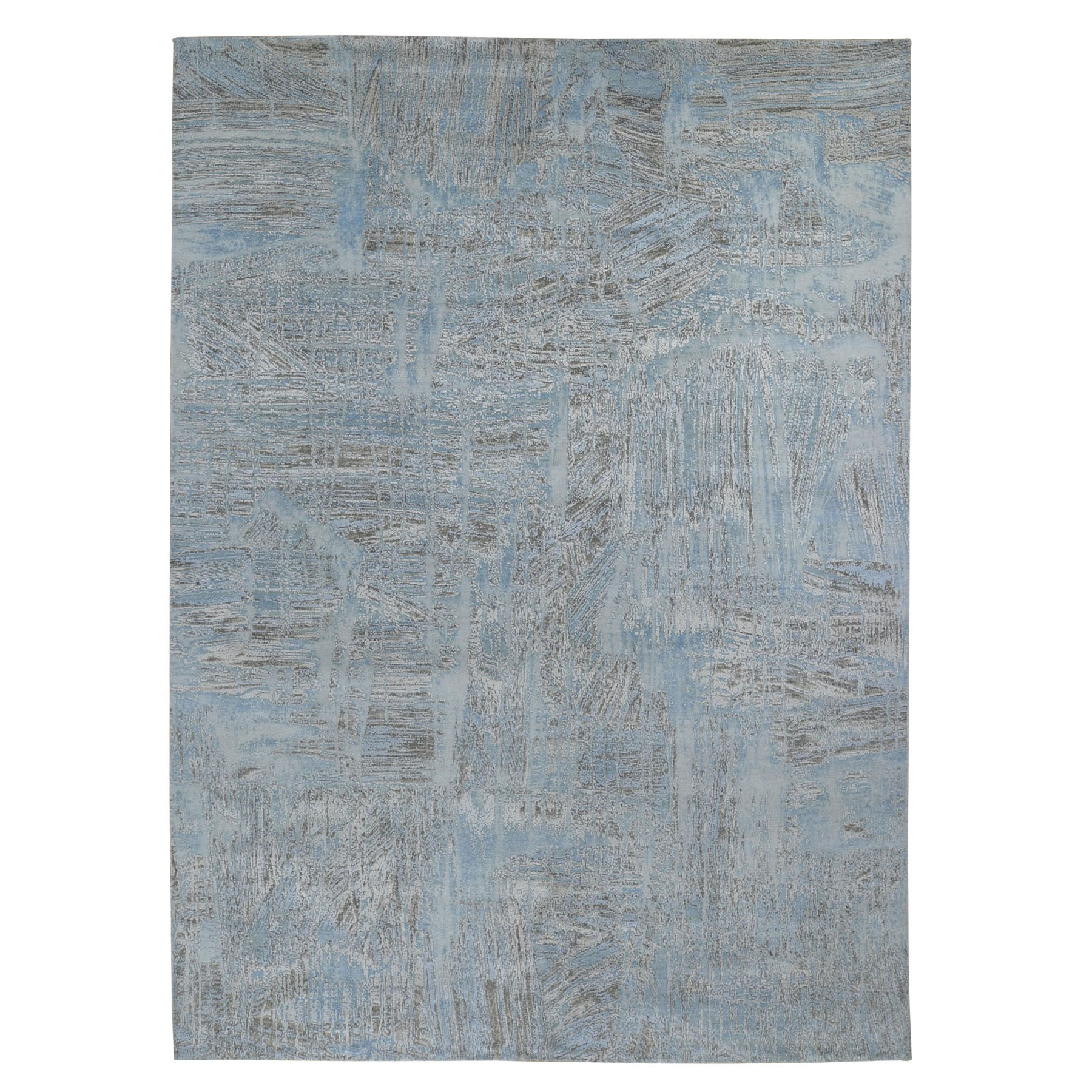 "8'9""X12' The Dripping Paint Brush, Silk With Textured Wool Hand Knotted Oriental Rug moad9086"