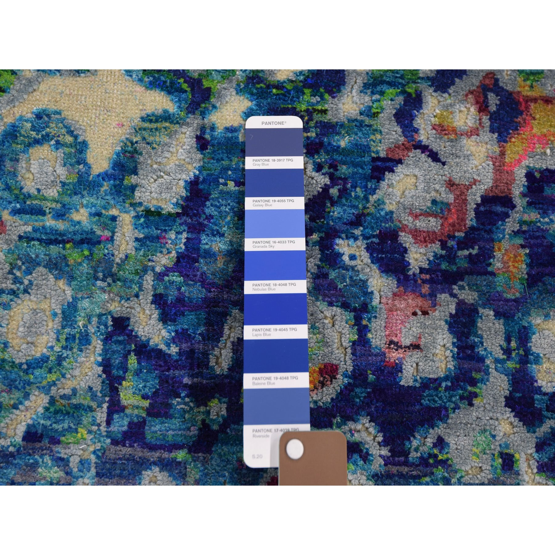 3-x12-4  THE PEACOCK, Sari Silk Colorful Hand Knotted Runner Oriental Rug