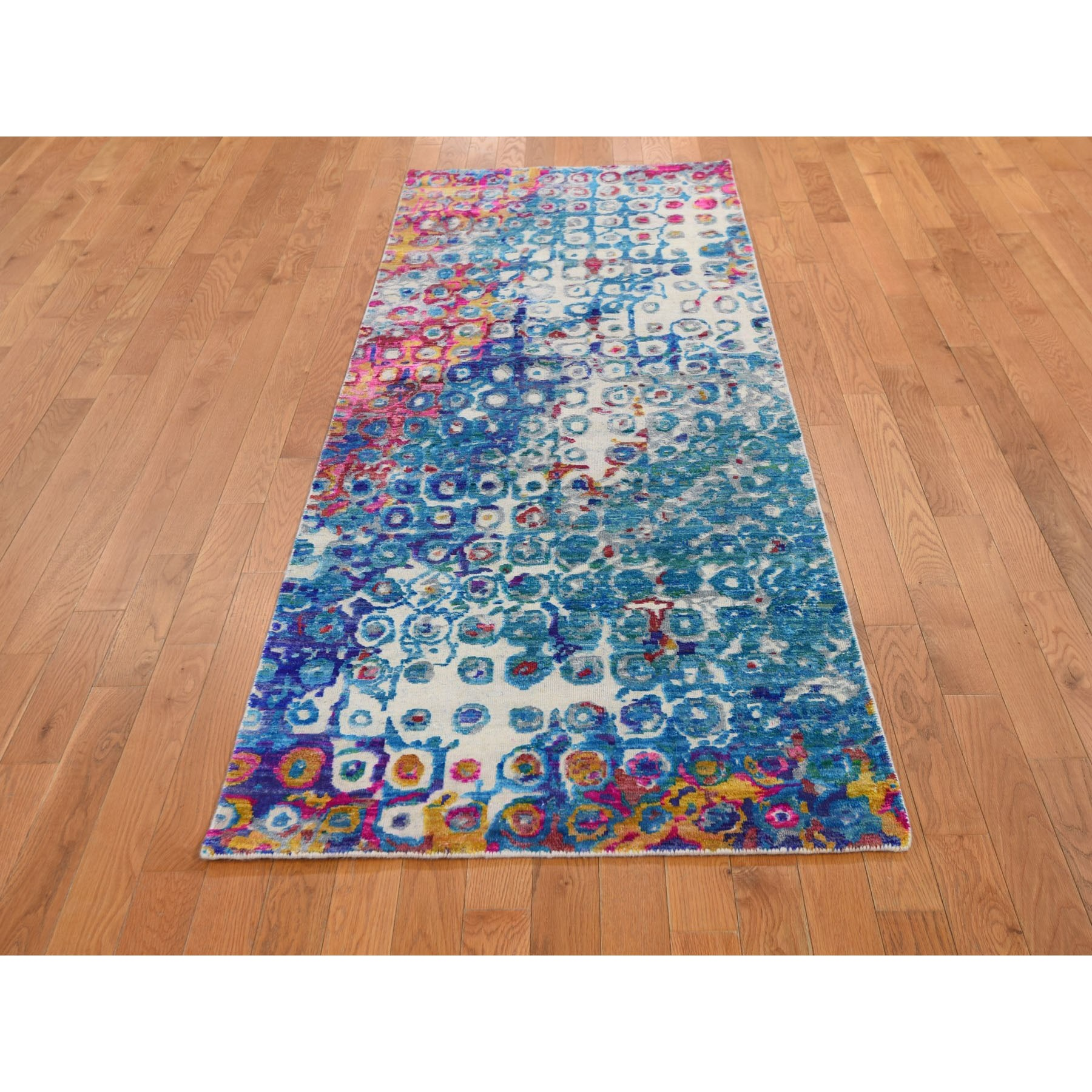 "3'x8'2"" THE PEACOCK, Sari Silk Colorful Hand Knotted Runner Oriental Rug"