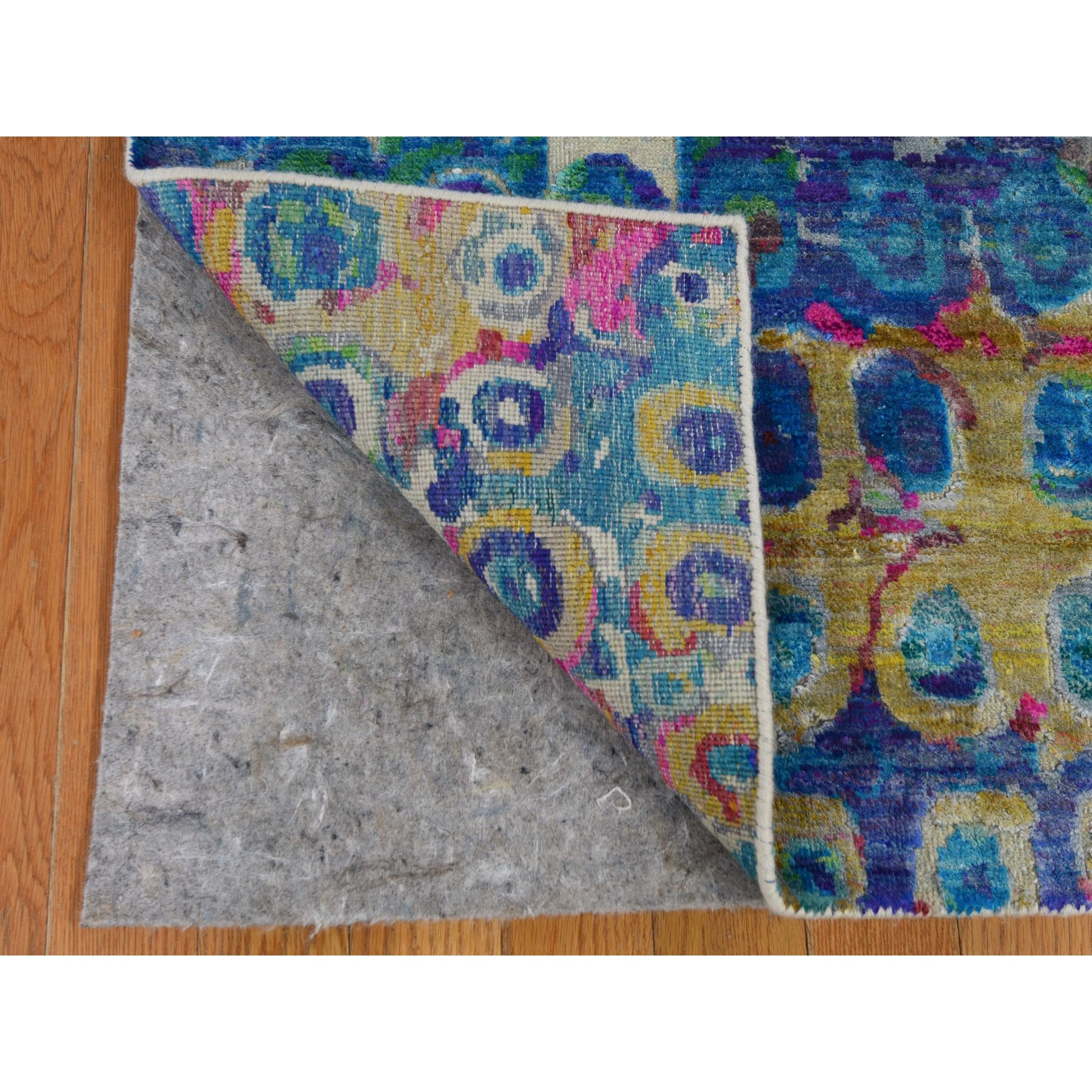 """3'10""""x11'10"""" THE PEACOCK, Sari Silk Colorful Hand Knotted Wide Runner Oriental Rug"""