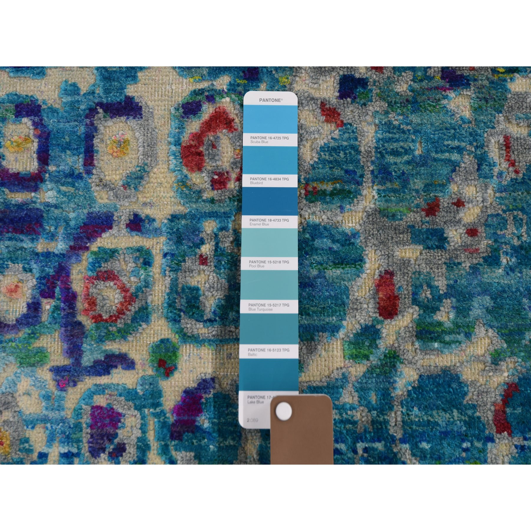 """3'x10'2"""" THE PEACOCK, Sari Silk Colorful Hand Knotted Runner Oriental Rug"""