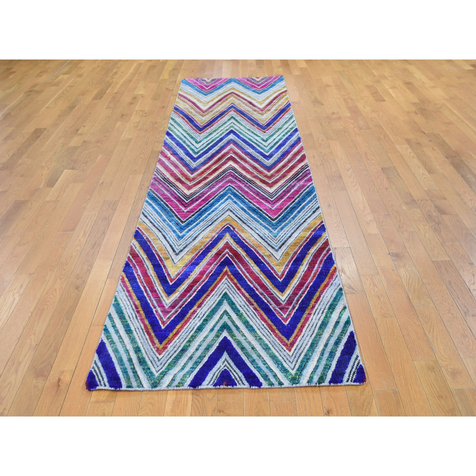 "3'x11'10"" Chevron Design Sari Silk and Textured Wool Hand Knotted Runner Oriental Rug"