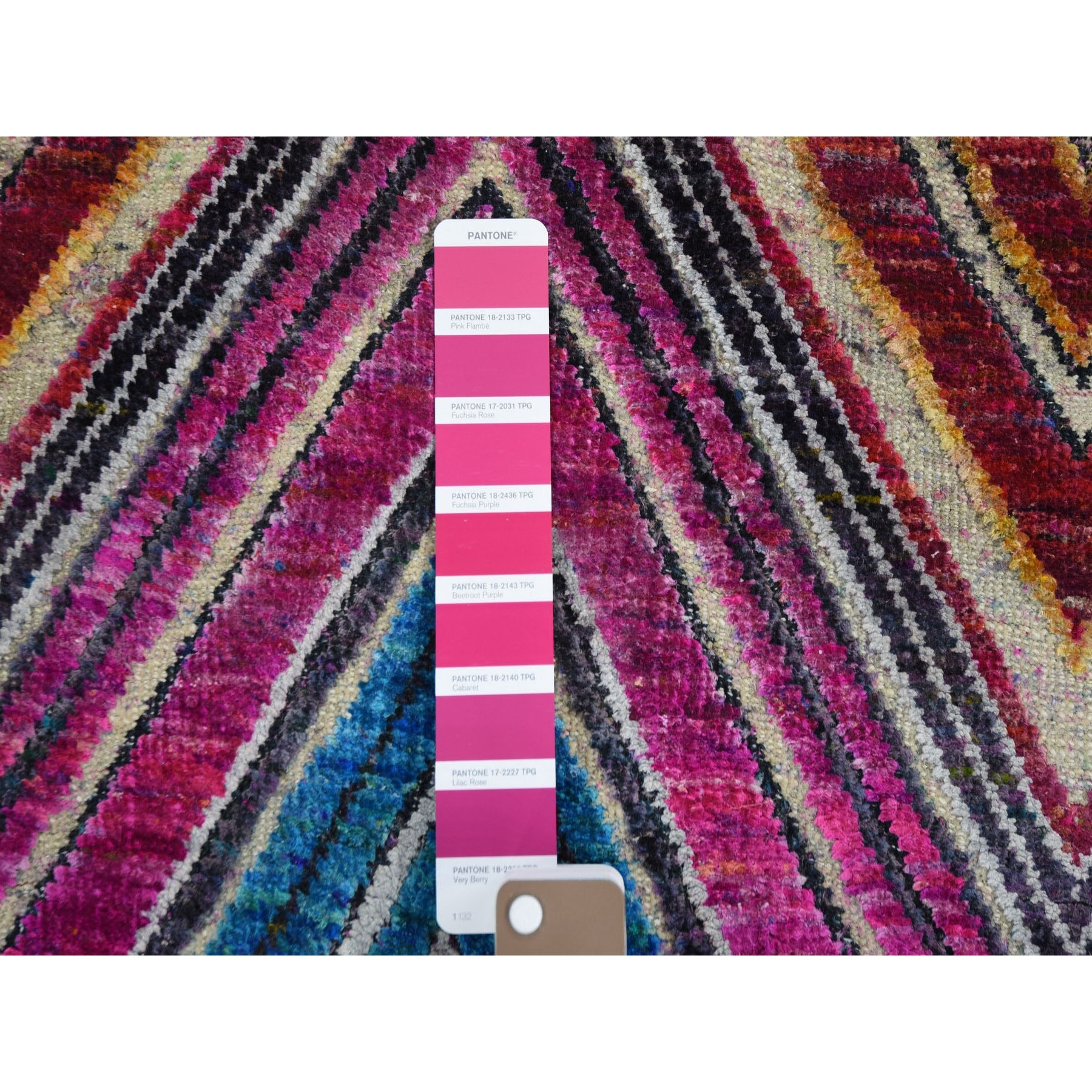"3'x12'3"" Chevron Design Sari Silk and Textured Wool Hand Knotted Runner Oriental Rug"