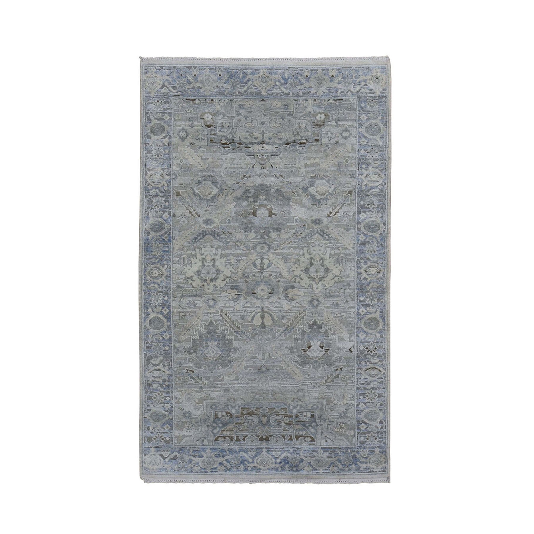 "3'x5'3"" Gray Pure Silk With Textured Wool Distressed Hand Knotted Oriental Rug"