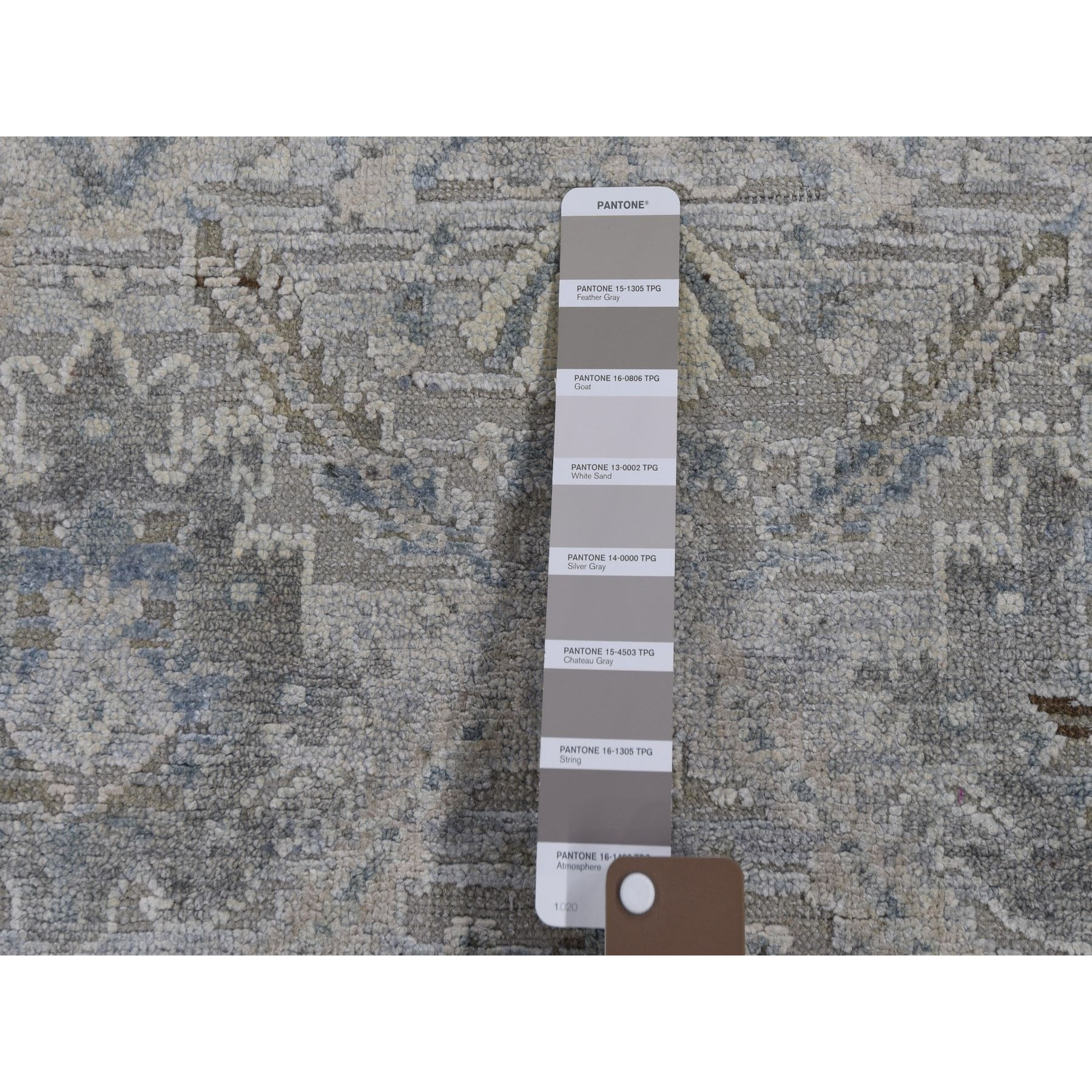 """3'x5'3"""" Gray Pure Silk With Textured Wool Distressed Hand Knotted Oriental Rug"""