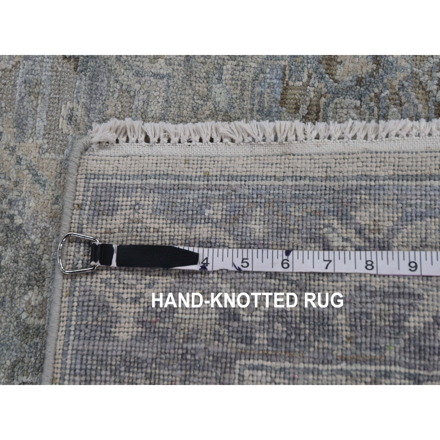 3-x5-3  Gray Pure Silk With Textured Wool Distressed Hand Knotted Oriental Rug