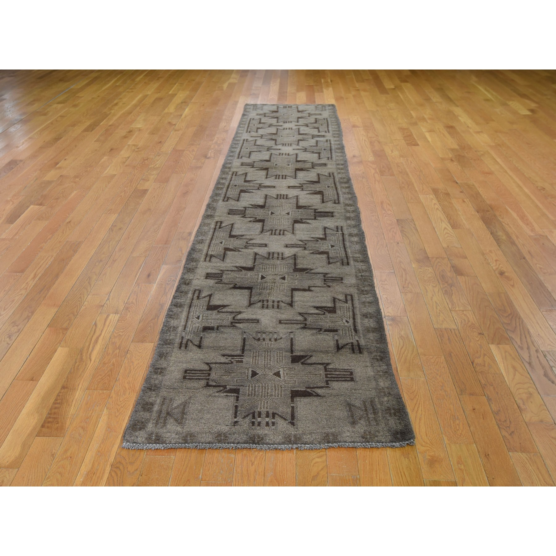 2-7 x12-8   Washed Out Afghan Baluch With Natural Colors Pure Wool Runner Hand Knotted Oriental Rug