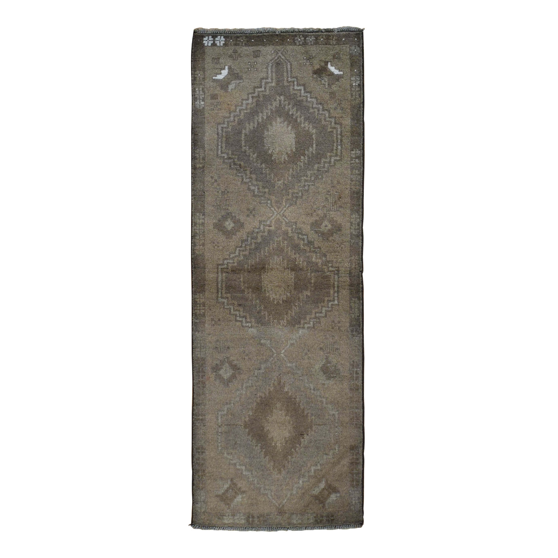 "2'4""x7' Washed Out Afghan Baluch With Natural Colors  Pure Wool Runner Hand Knotted Oriental Rug"