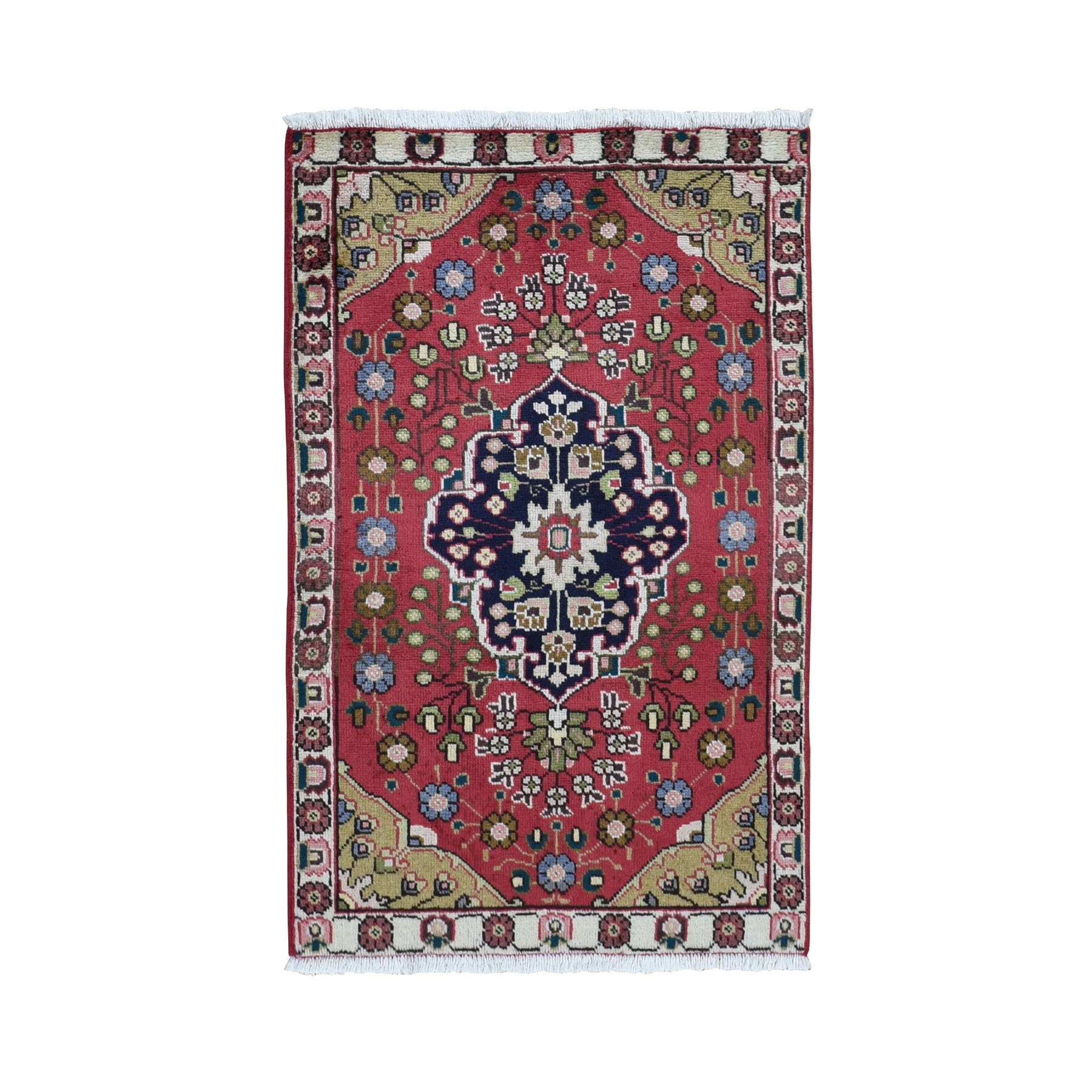 "3'x4'8"" Red Vintage Persian Tabriz Pure Wool Hand Knotted Oriental Rug"