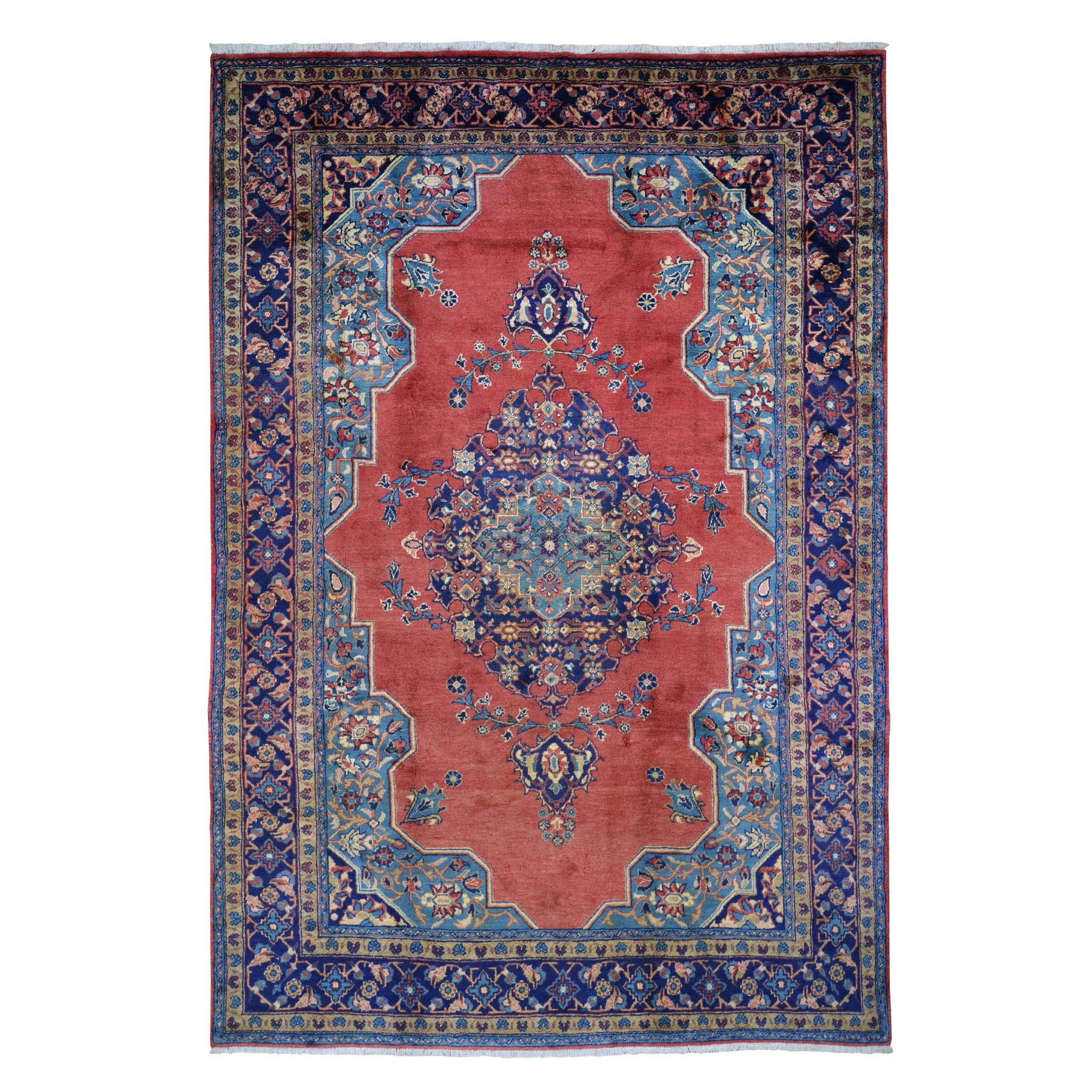 "7'9""x12' Red Vintage Persian Viss Full Pile Clean And Soft Pure Wool Hand Knotted Oriental Rug"