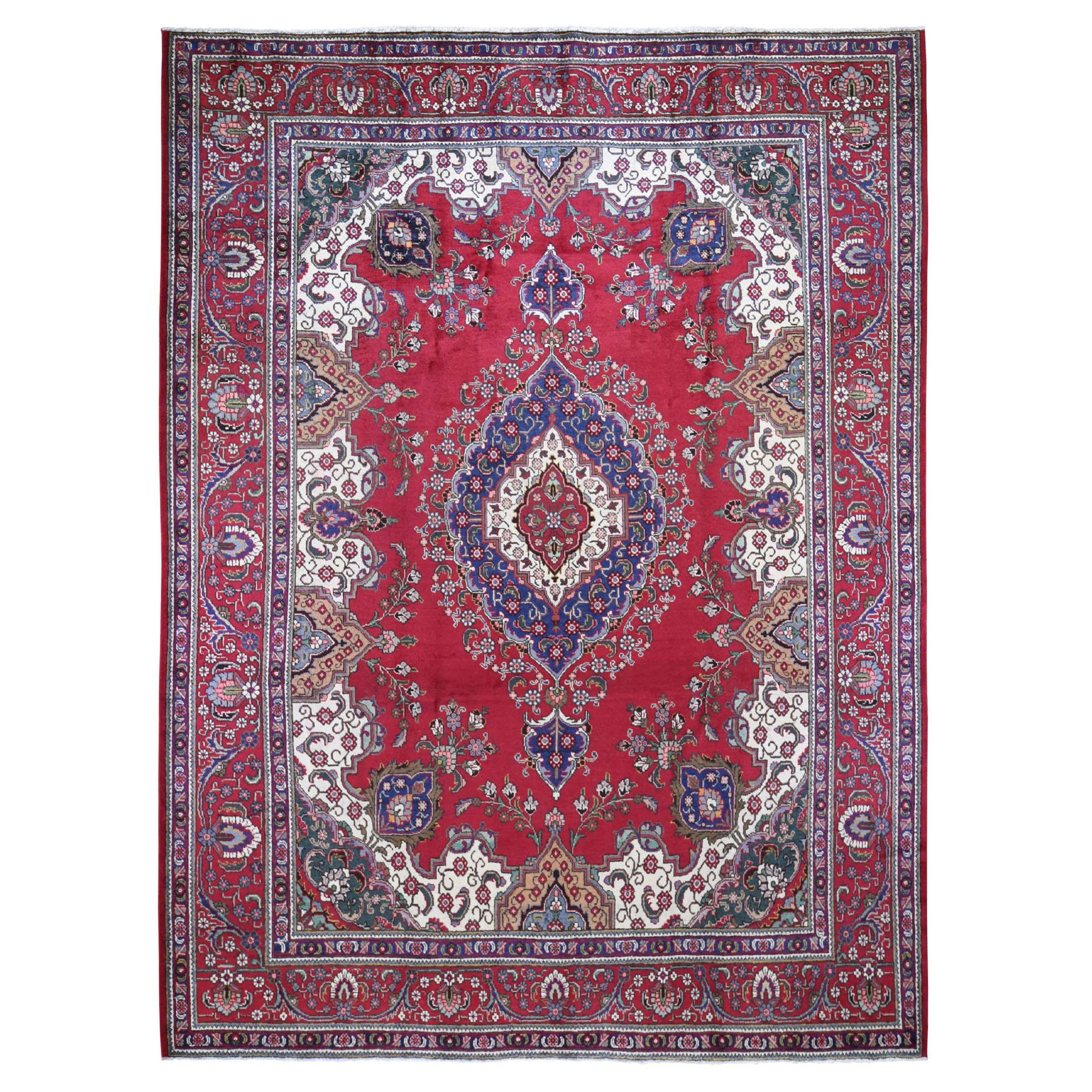 "9'10""X12'2"" Red Vintage Persian Tabriz Some Wear Pure Wool Hand Knotted Oriental Rug moad9a0d"
