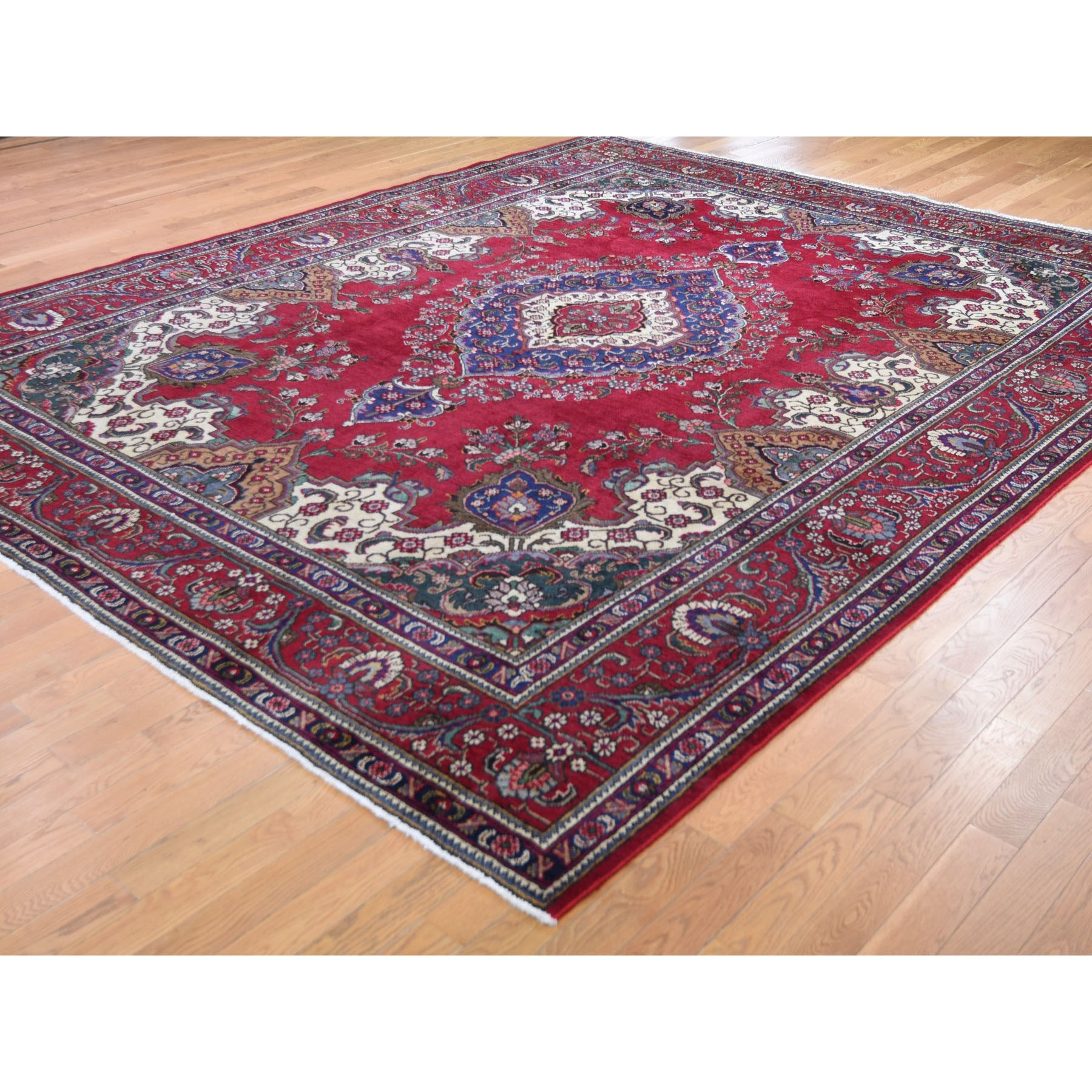 "9'10""x12'2"" Red Vintage Persian Tabriz Some Wear Pure Wool Hand Knotted Oriental Rug"
