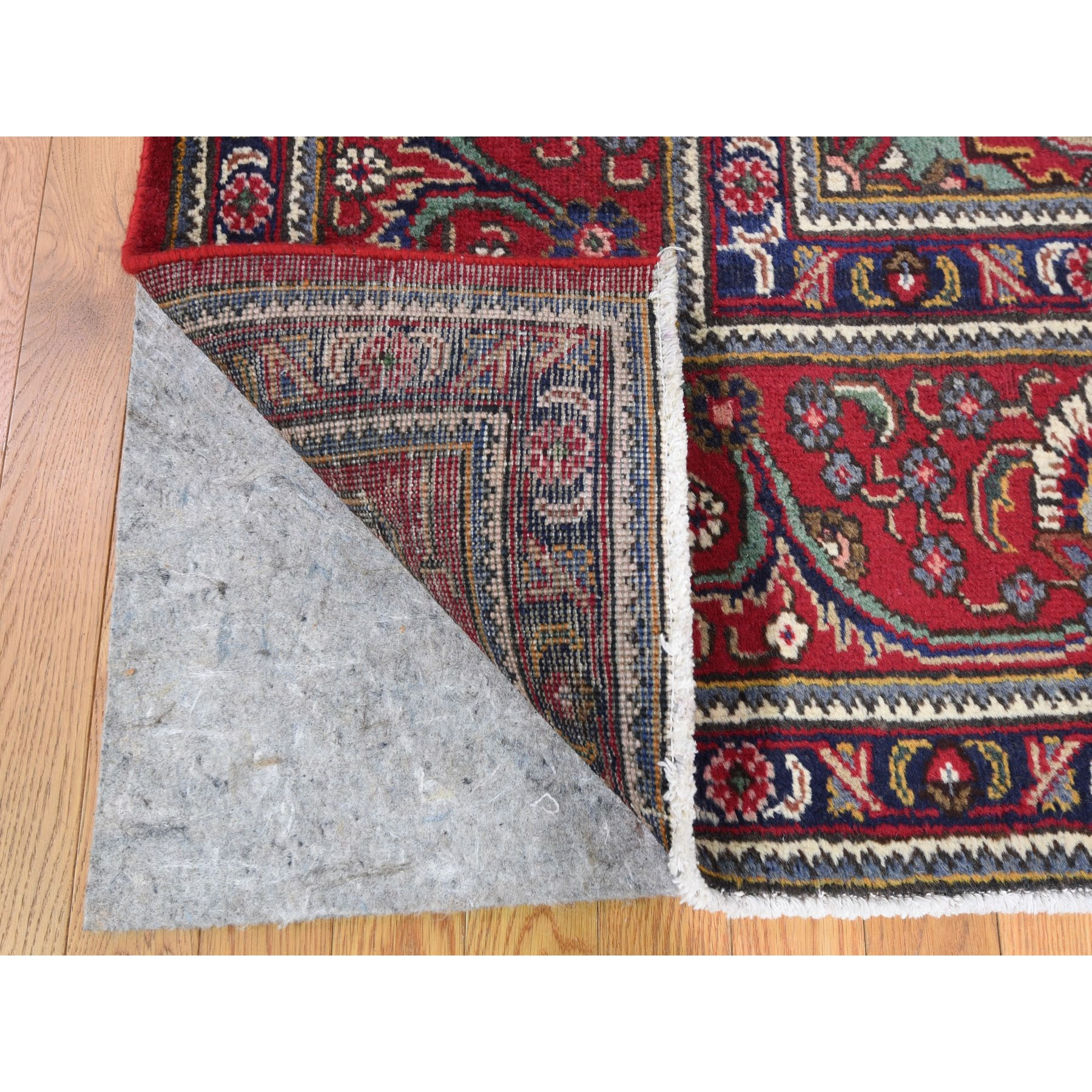 9-10 x12-2  Red Vintage Persian Tabriz Some Wear Pure Wool Hand Knotted Oriental Rug