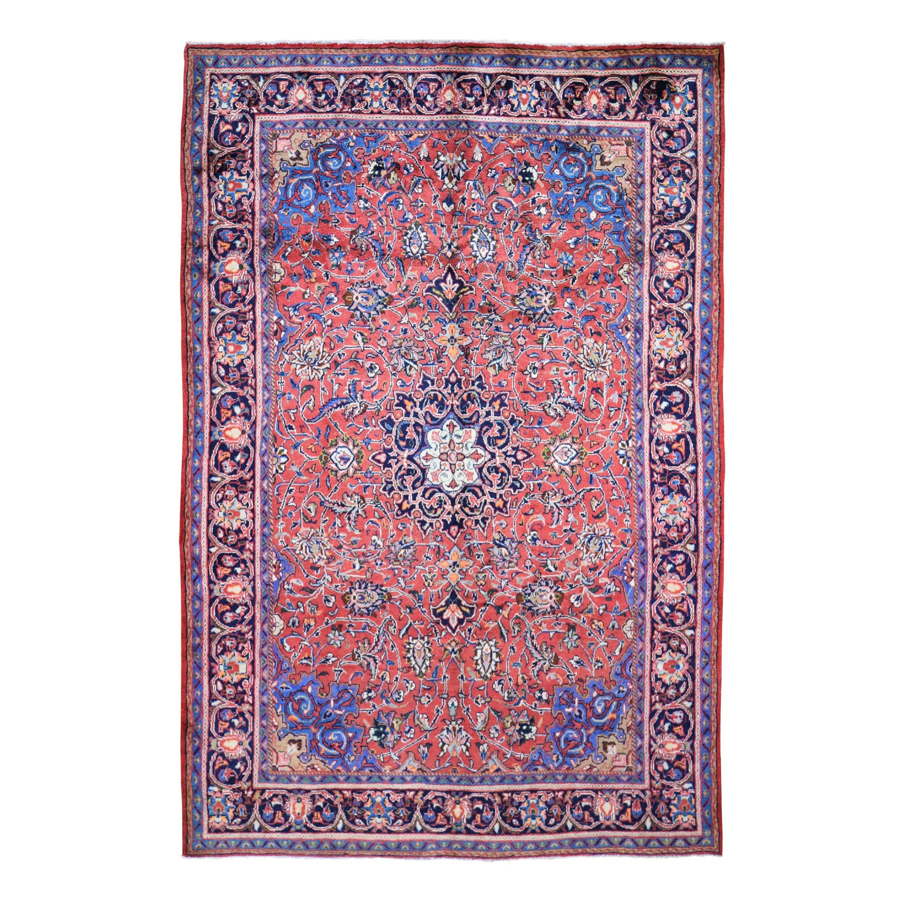 """6'8""""X10'5"""" Red Vintage Persian Mahal Full Pile Pure Wool Hand Knotted Oriental Rug moad9a0e"""