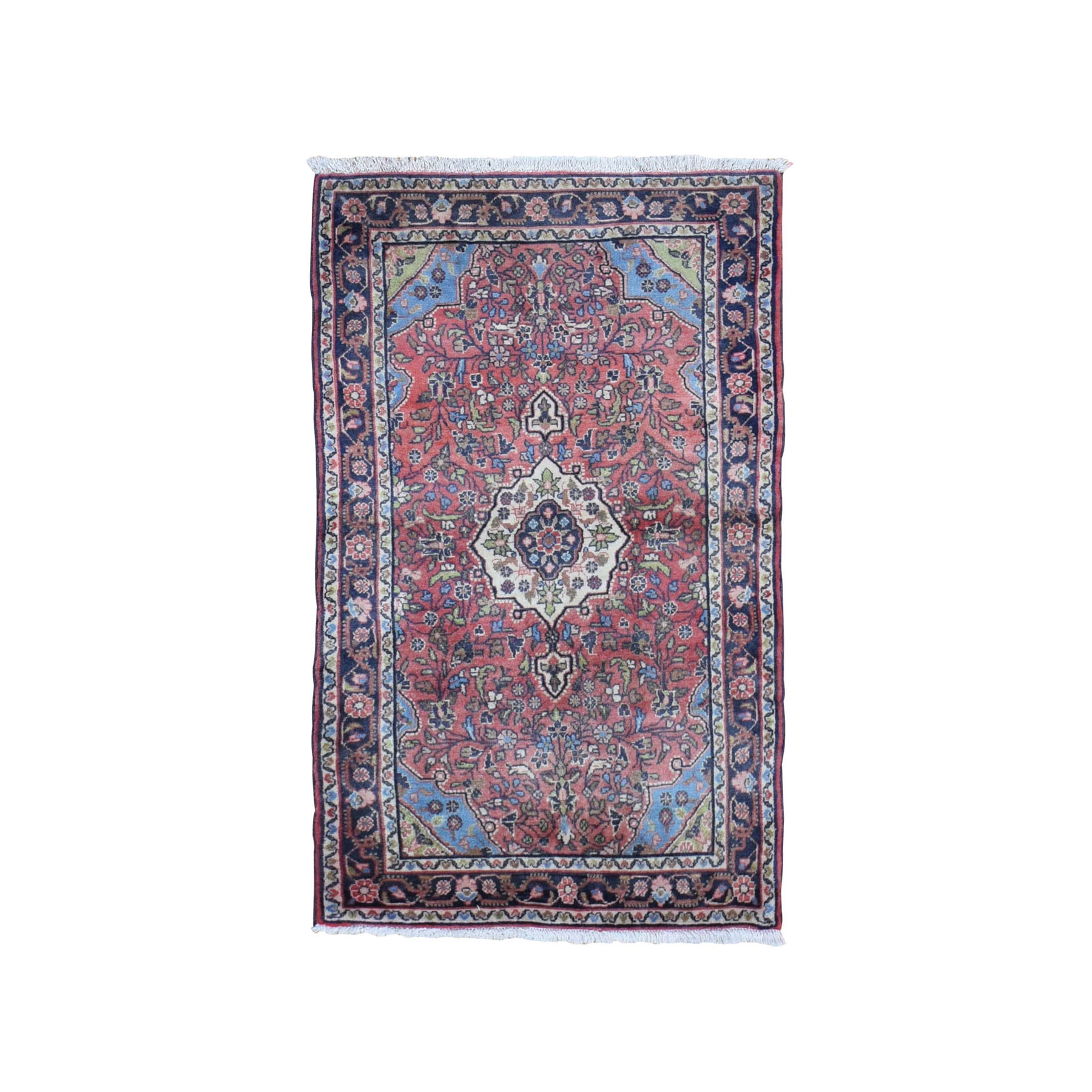 "2'7""x4'6"" Red Vintage Persian Hamadan Clean Full Pile Hand Knotted Pure Wool Oriental Rug"