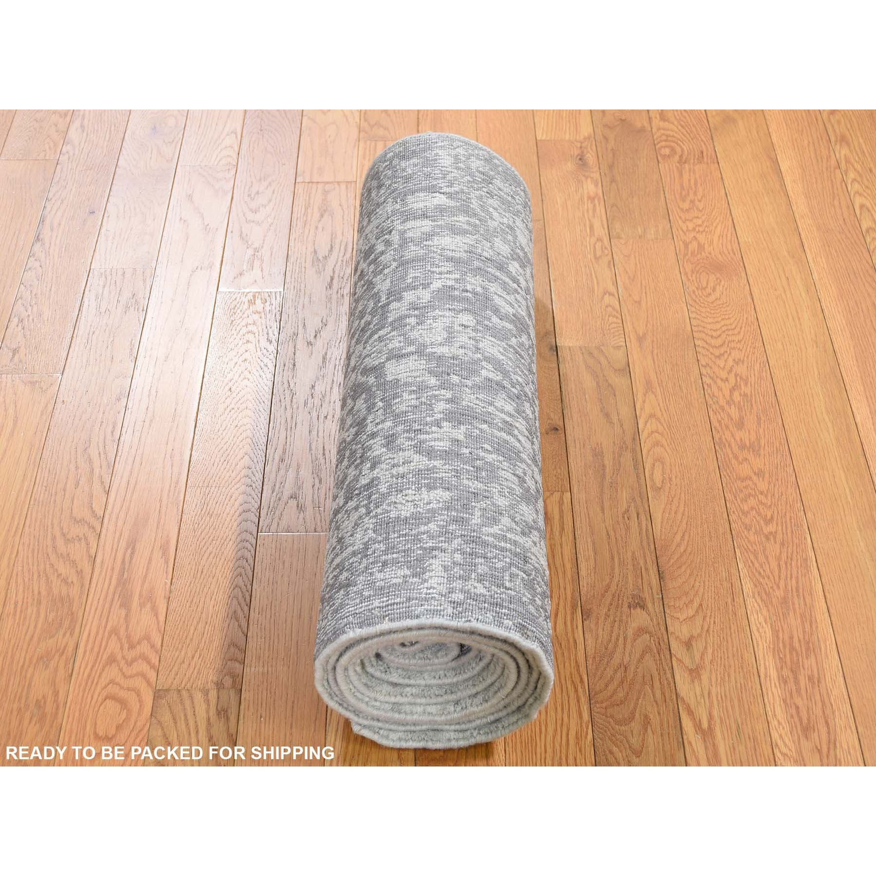 2-5 x8-2  Jacquard Hand-Loomed Gray Broken Cypress Tree Design Silken Thick And Plush Runner Oriental Rug