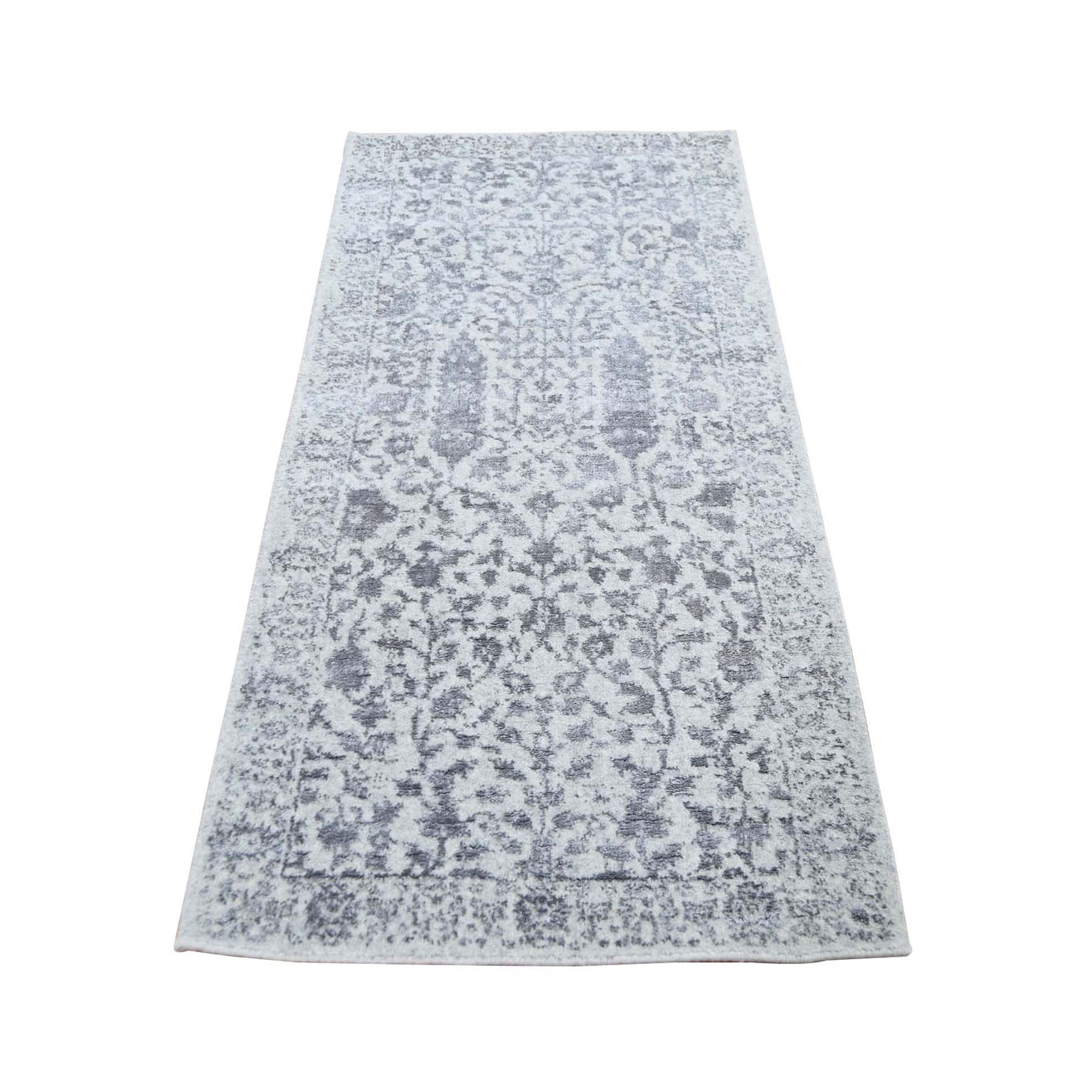 "2'5""X6' Jacquard Hand-Loomed Gray Broken Cypress Tree Design Silken Thick And Plush Runner Oriental Rug moad9aa0"