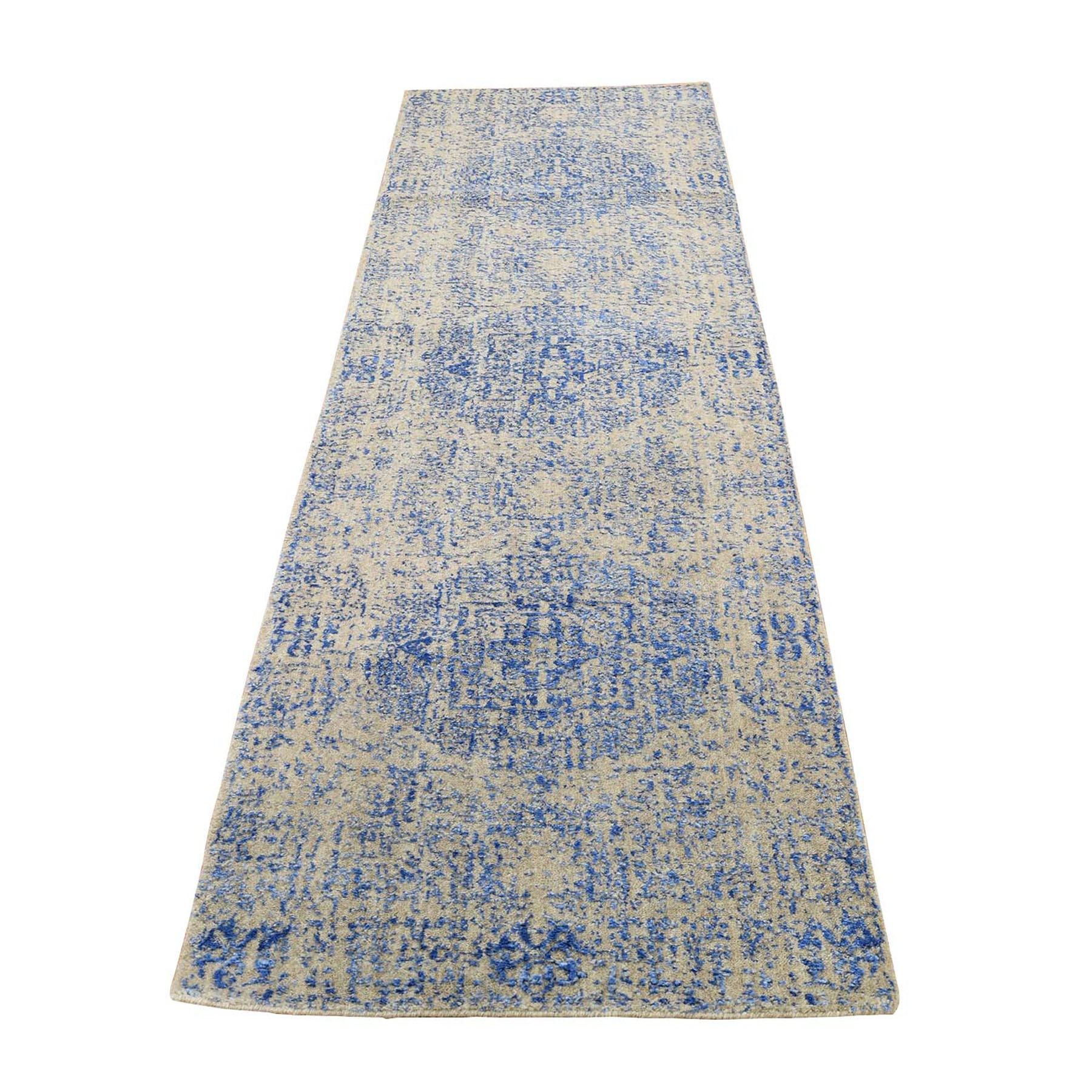 "2'5""X8' Wool And Silk Mamluk Design Jacquard Hand Loomed Runner Oriental Rug moad9aac"