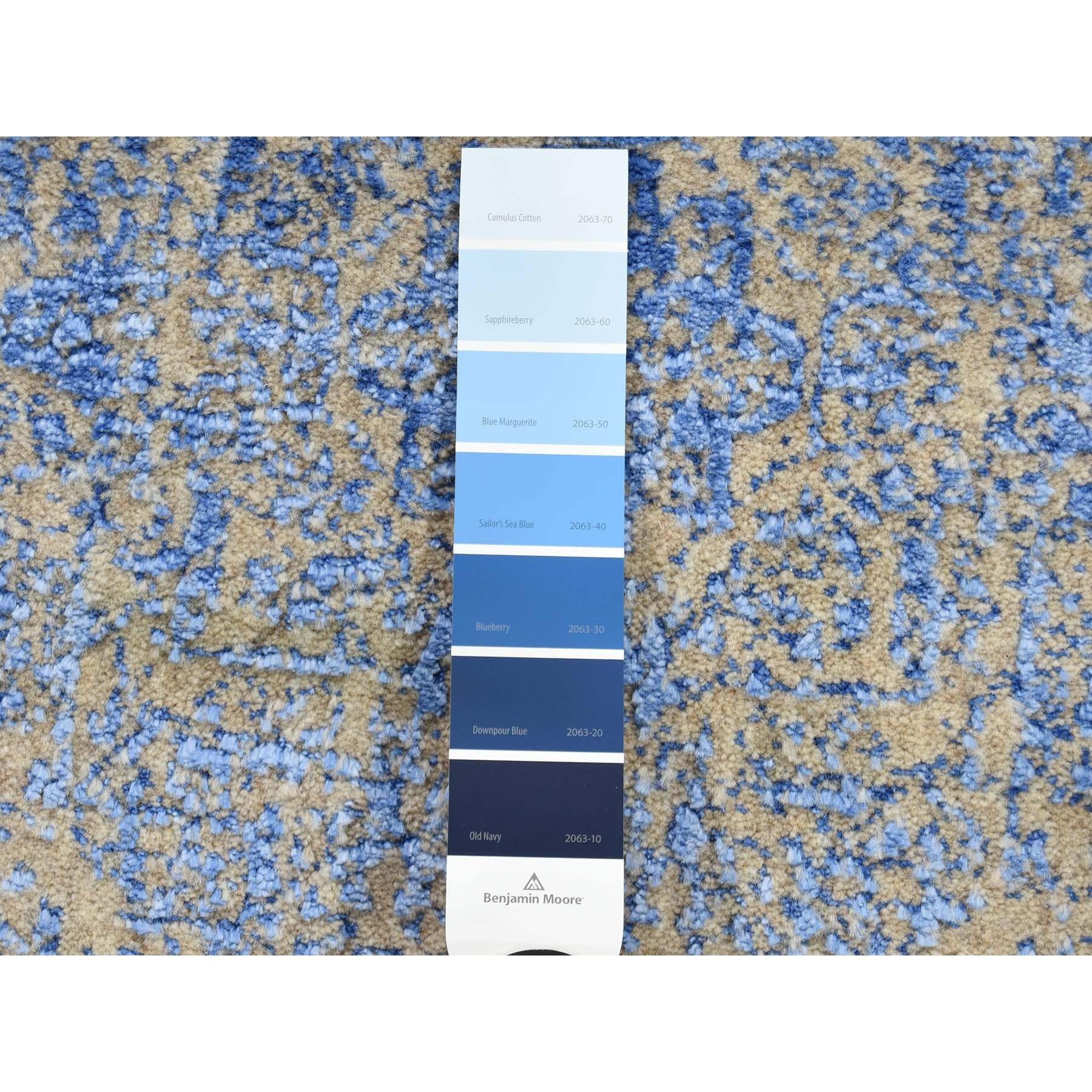 "2'5""x8' Wool And Silk Mamluk Design Jacquard Hand Loomed Runner Oriental Rug"
