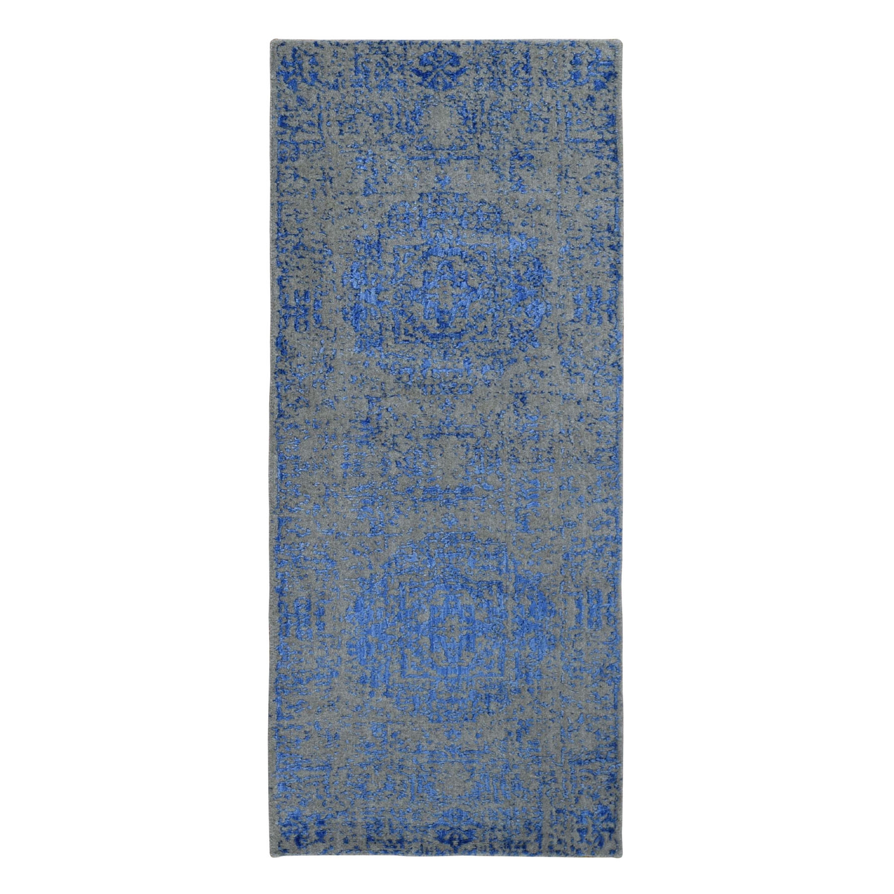"2'5""X6'1"" Blue Fine Jacquard Mamluk Design Hand Loomed Wool And Art Silk Oriental Rug moad9aa7"