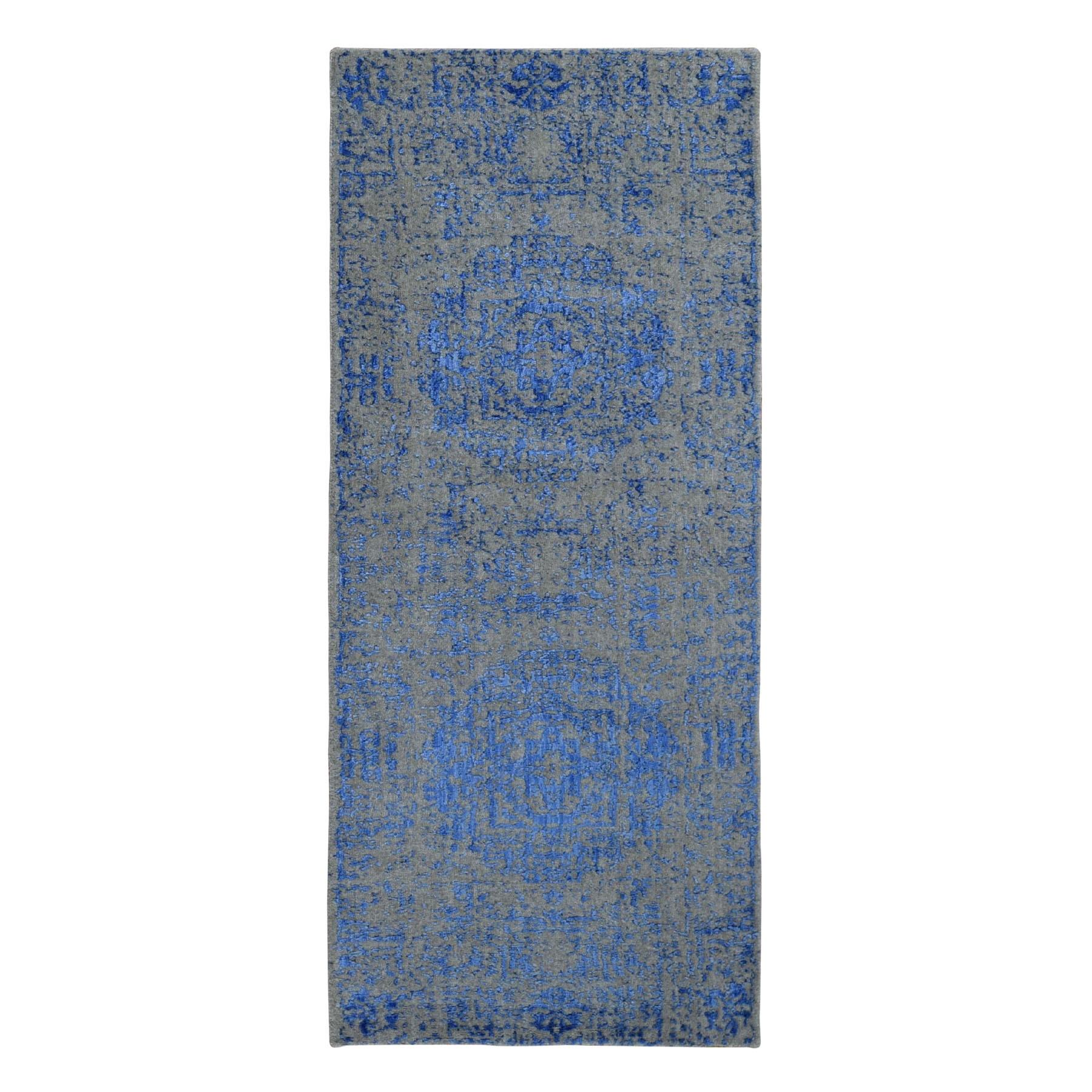 "2'5""x6'1"" Blue Fine jacquard Mamluk Design Hand loomed Wool And Art Silk Oriental Rug"