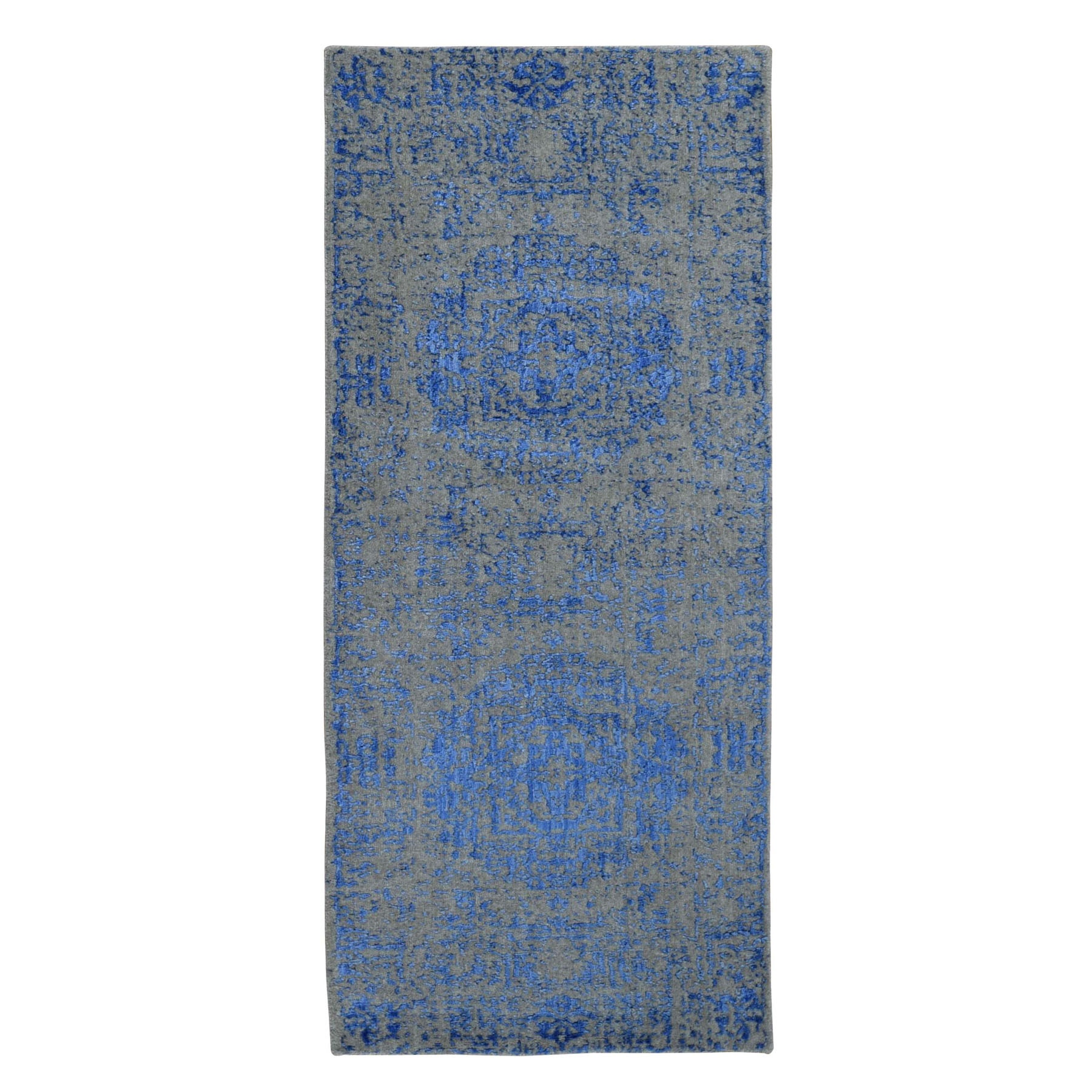 "2'5""X6' Blue Fine Jacquard Mamluk Design Hand Loomed Wool And Art Silk Runner Oriental Rug moad9aa8"