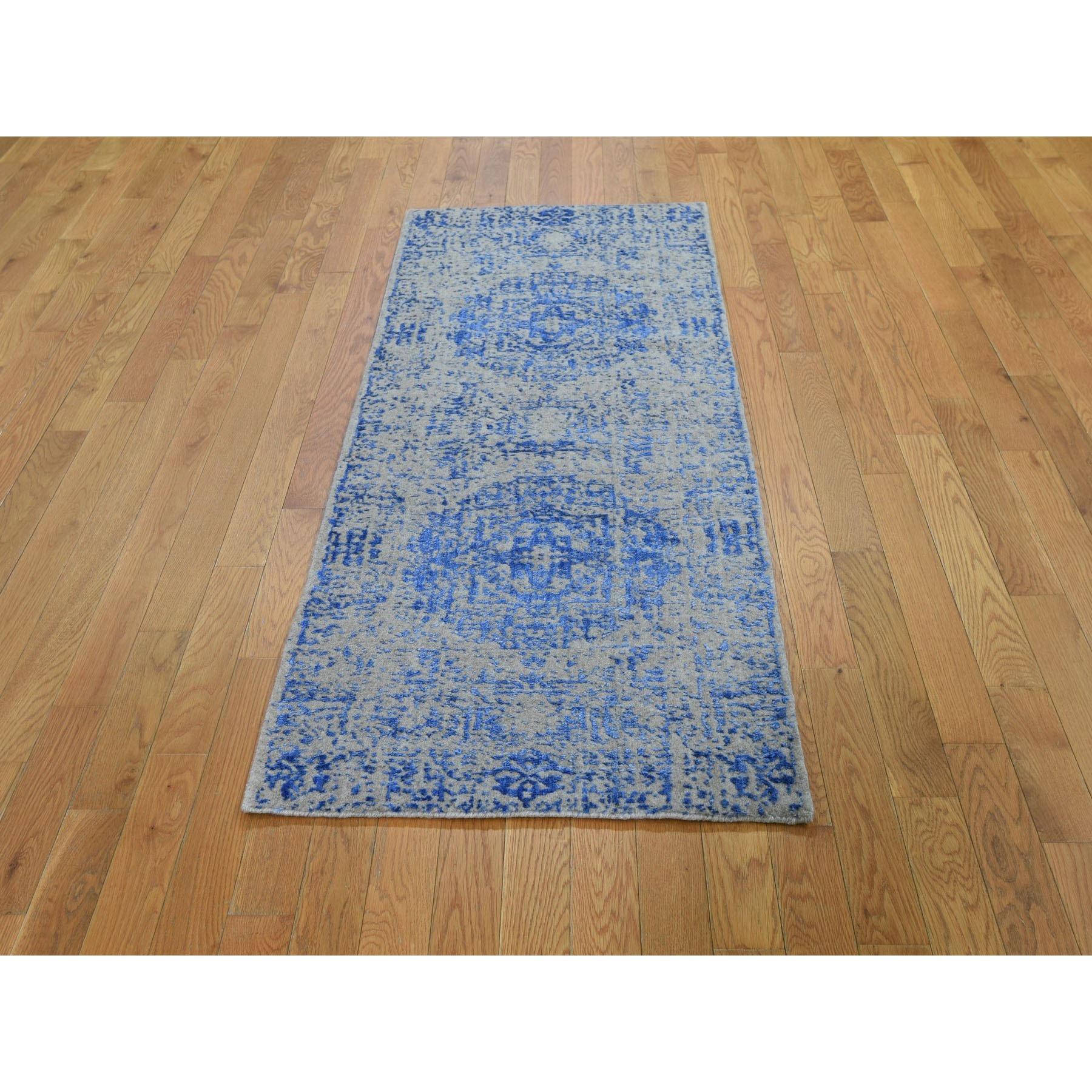 "2'5""x6' Blue Fine jacquard Mamluk Design Hand loomed Wool And Art Silk Runner Oriental Rug"