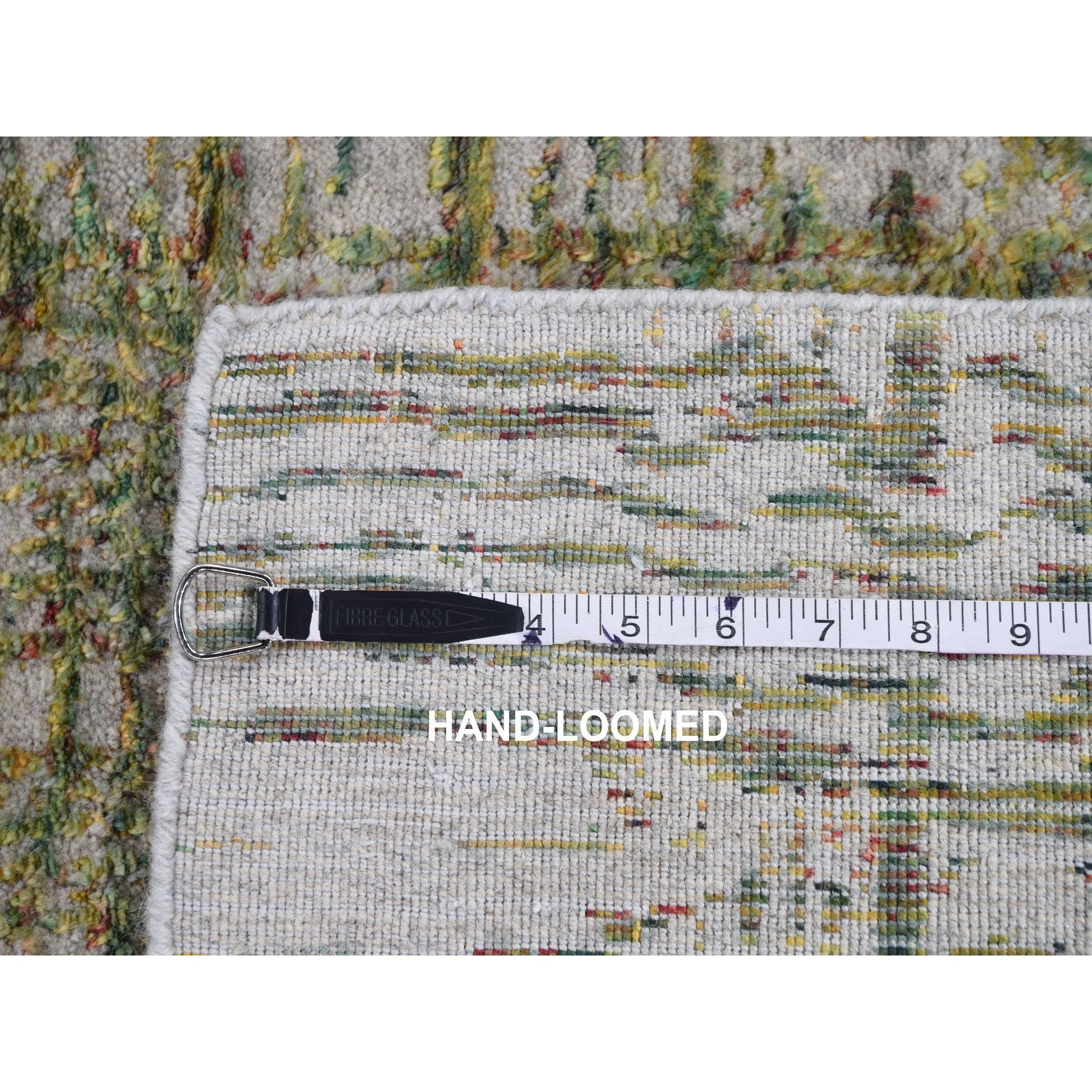 "2'6""x9'9""  Gray Fine Jacquard Hand Loomed Modern Wool And Silk Runner Oriental Rug"