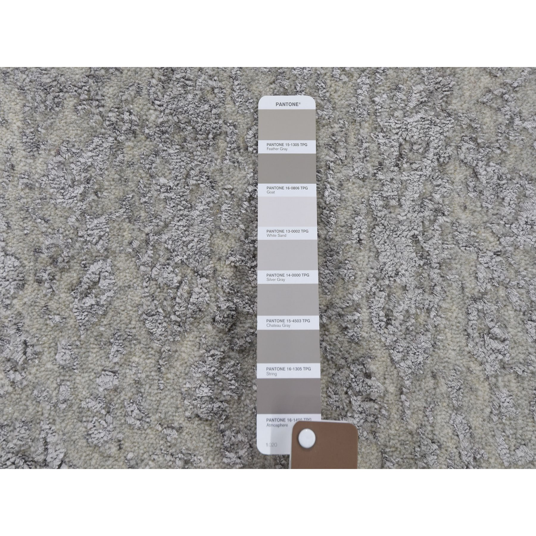 2-x3- Gray Wool And Silk Jacquard Hand loomed Oriental Rug