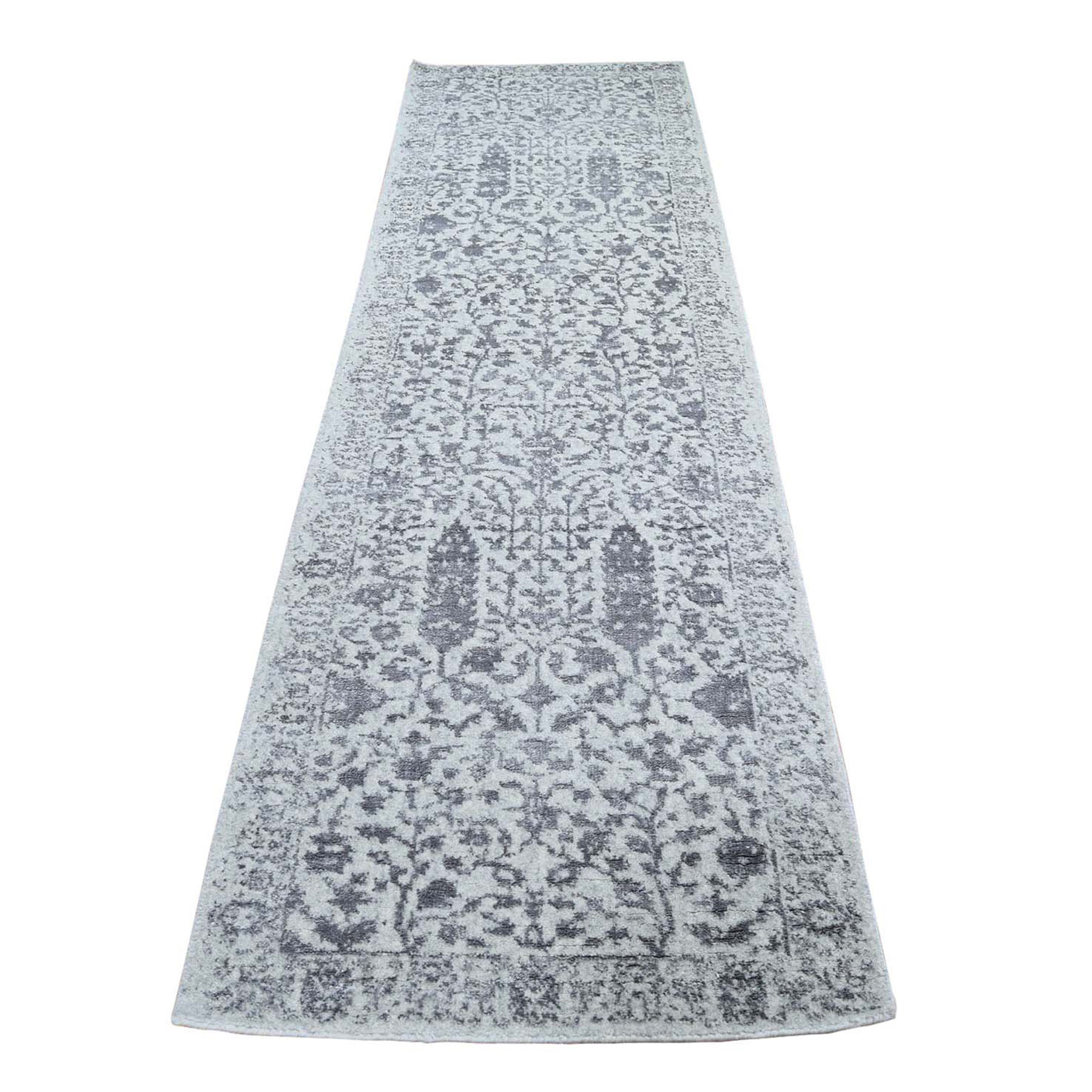 "2'5""X10'  Jacquard Hand-Loomed Gray Broken Cypress Tree Design Silken Thick And Plush Runner Oriental Rug moad9abc"