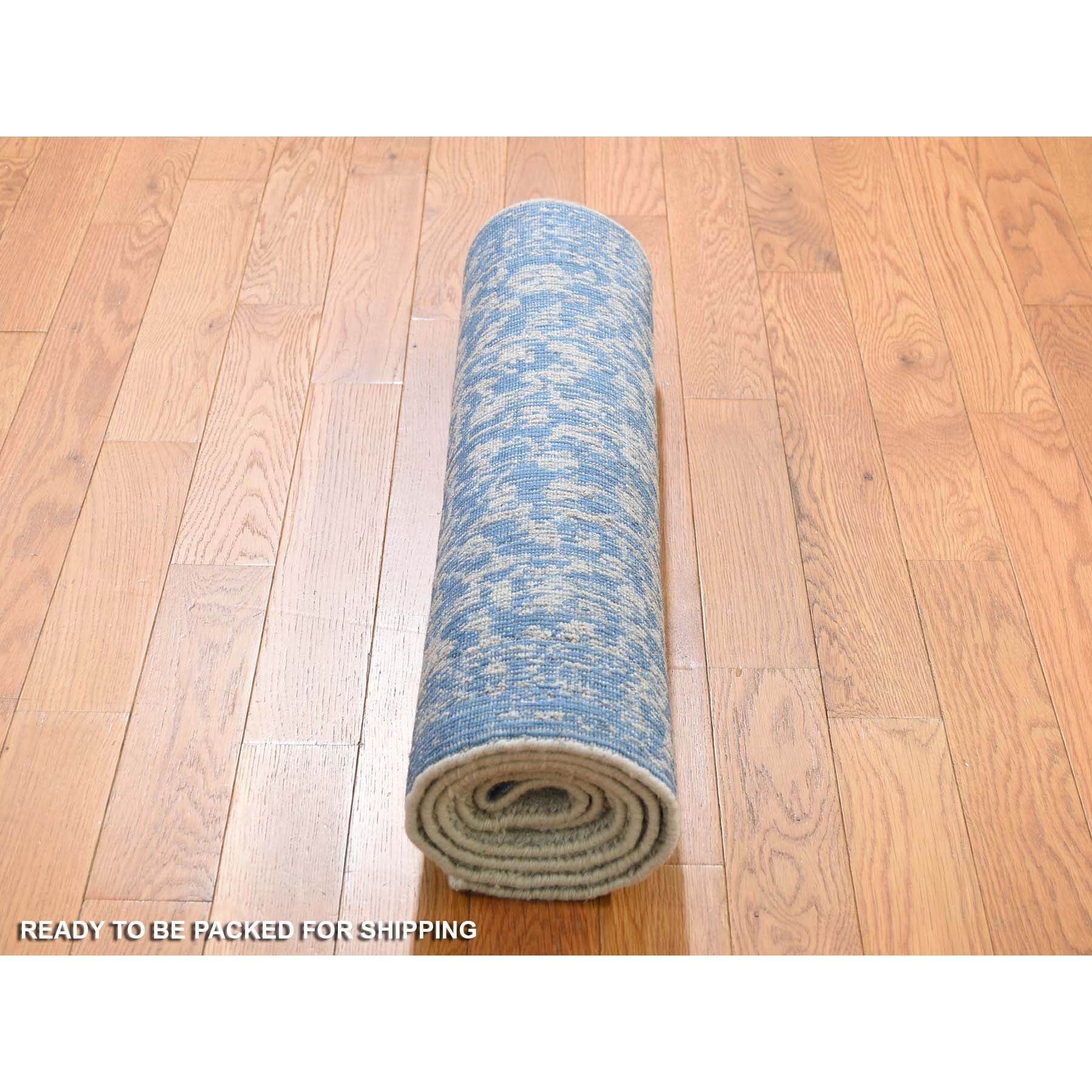 "2'5""x6'2"" Jacquard Hand Loomed Blue Broken Cypress Tree Design Silken Thick And Plush Runner Oriental Rug"