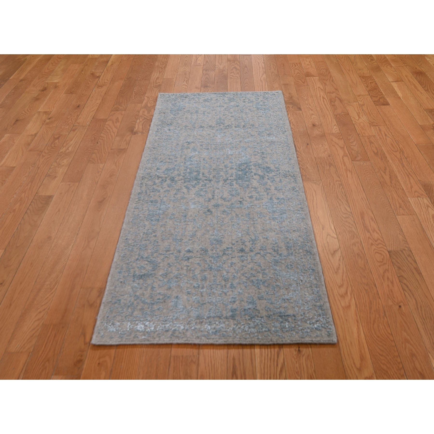 "2'5""x6' Gray Jacquard Hand Loomed Wool And Art Silk Heriz Design Runner Oriental Rug"