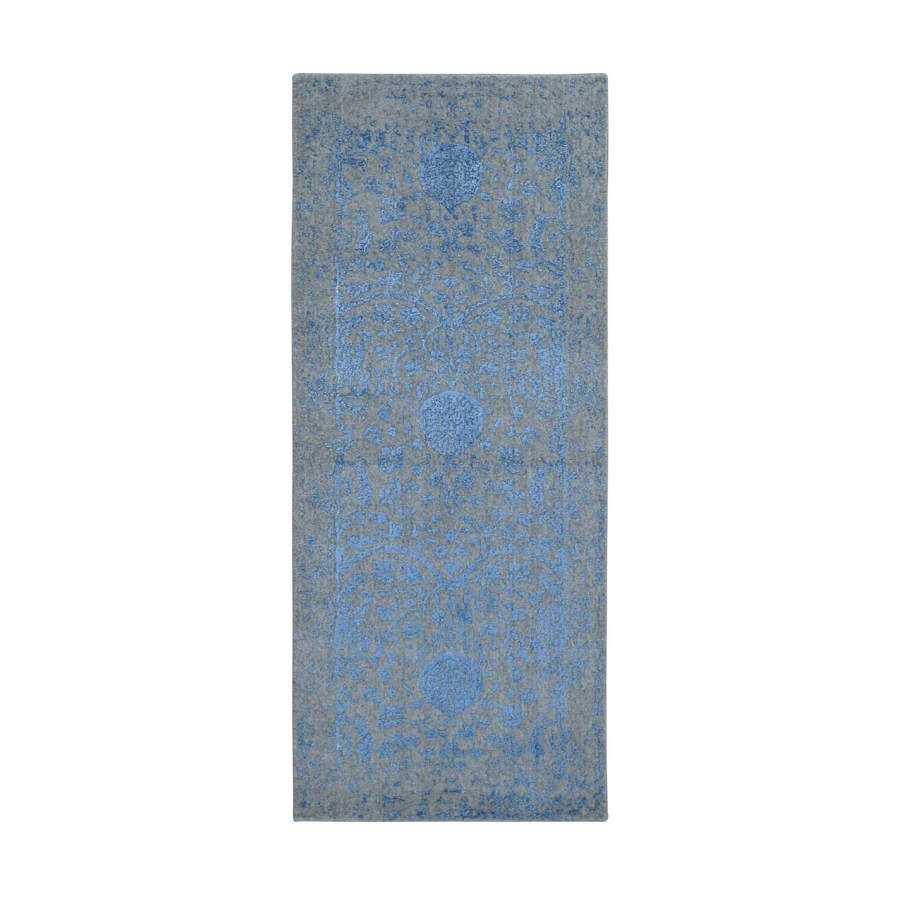 "2'5""x5'10"" Blue Jacquard Hand Loomed Wool and Art Silk Pomegranate Design Runner Oriental Rug"