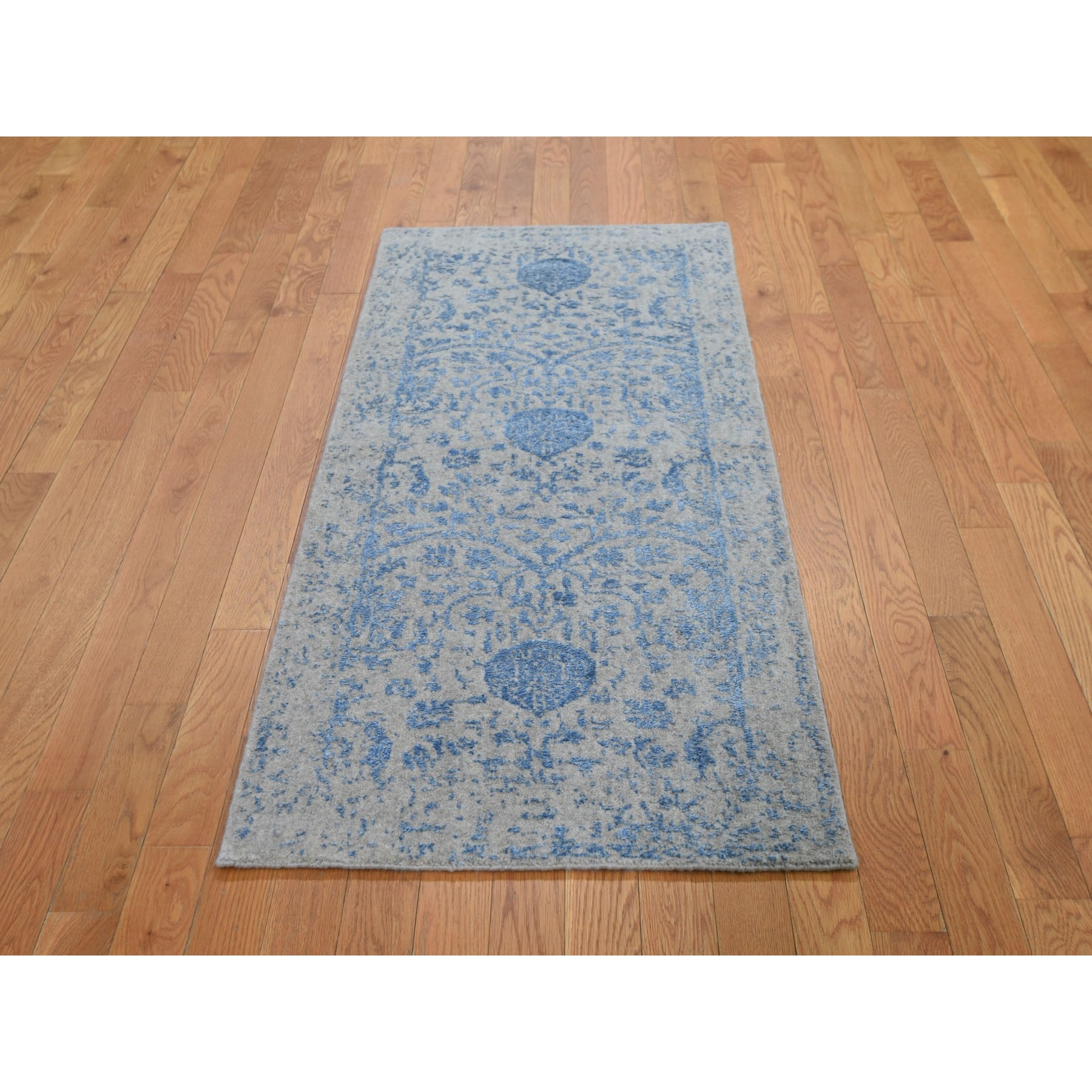 "2'5""x5'10"" Blue Jacquard Hand Loomed Wool and Art Silk Pomegranate Design Runner Oriental Rug"
