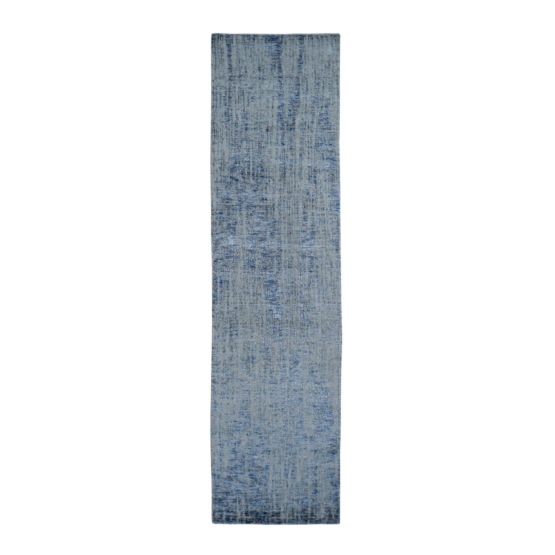 "2'6""x9'9"" Gray Fine jacquard Hand-Loomed Runner Modern Wool And Silk Oriental Rug"