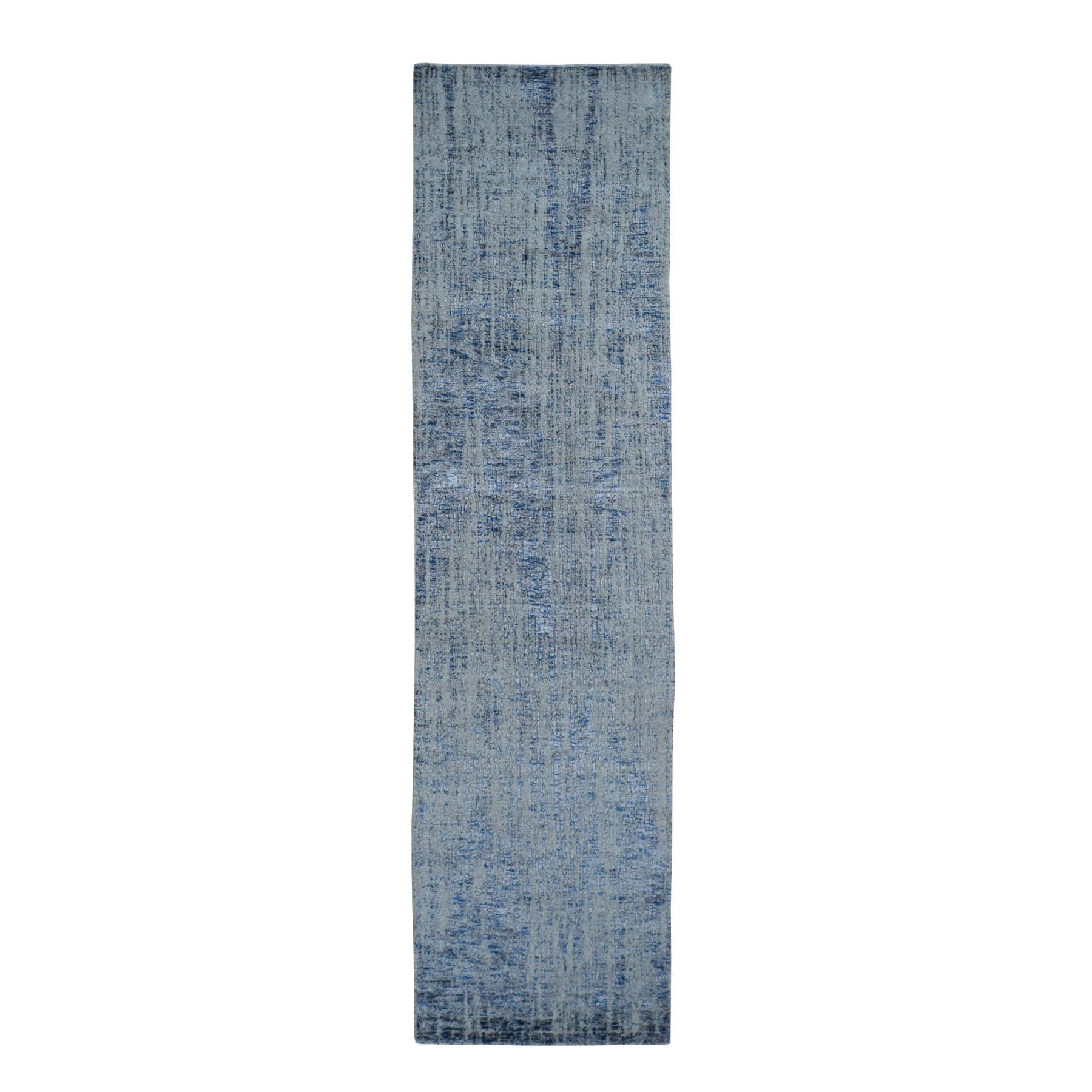 "2'6""x7'10"" Gray Fine jacquard Hand-Loomed Modern Runner Wool And Silk Oriental Rug"