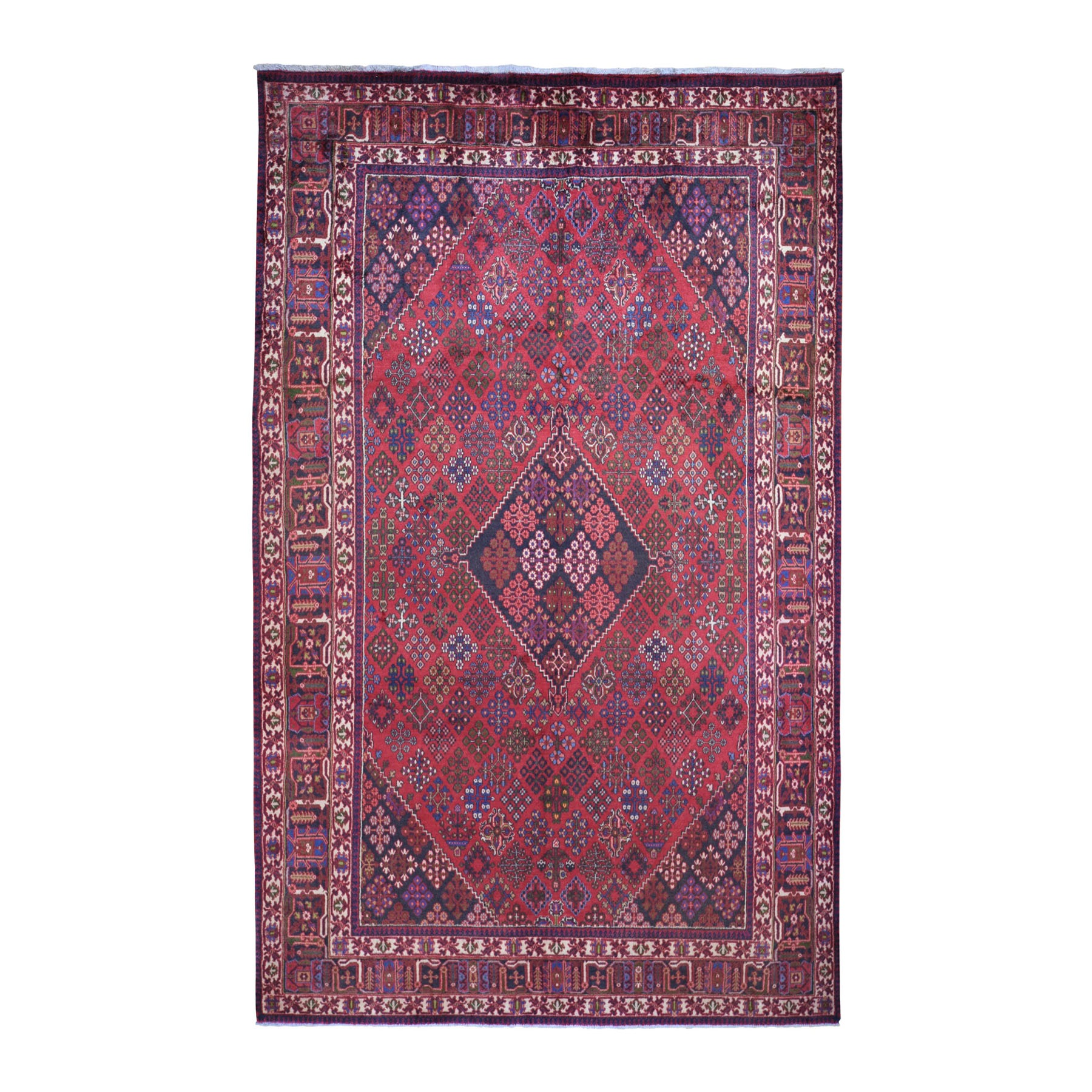 "6'10""x11'3"" Red Vintage Persian Joshagan Full Pile Hand Knotted Oriental Rug"