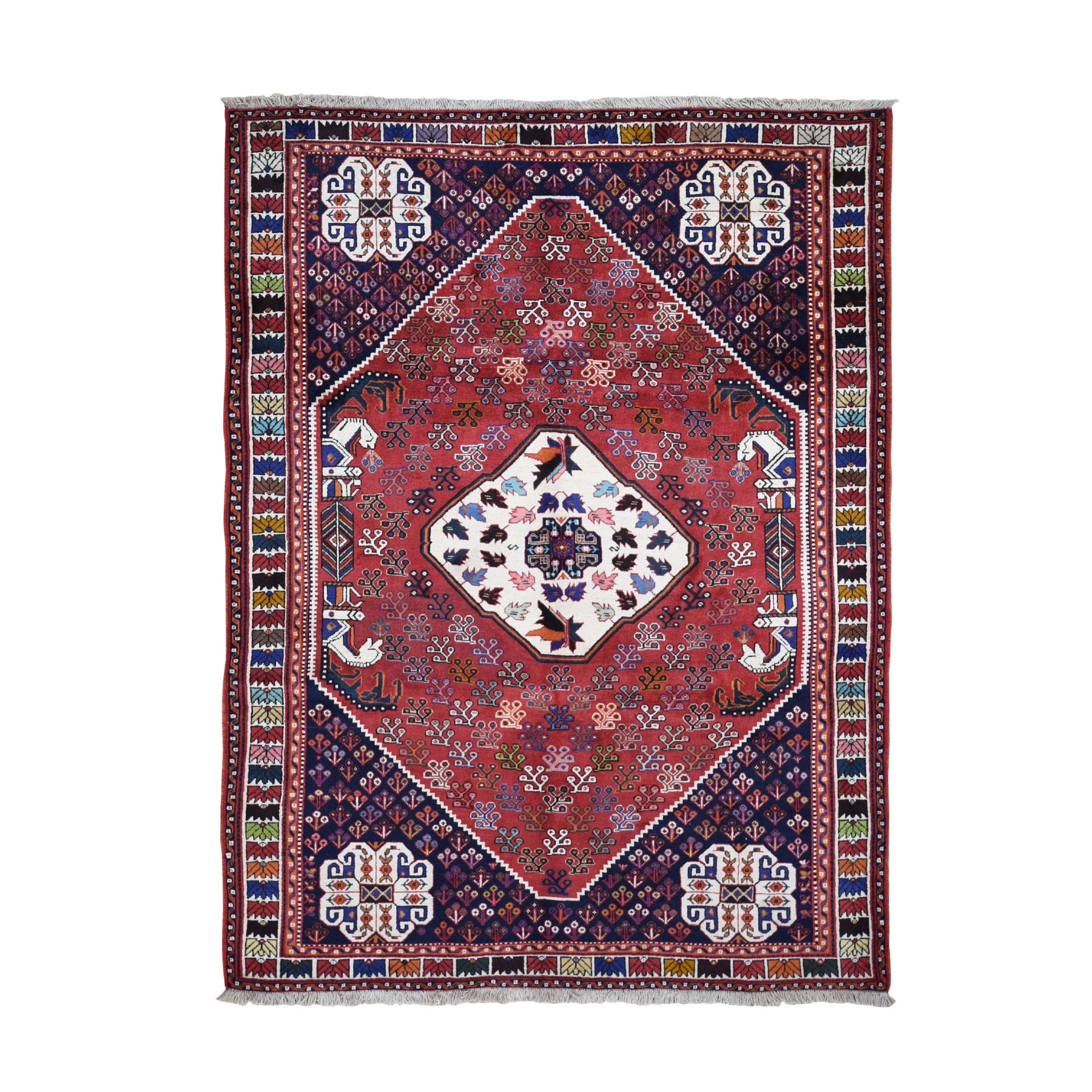 "8'X9'4"" Red New Persian Shiraz With Trojan Horses Pure Wool Hand Knotted Oriental Rug moad9ac9"
