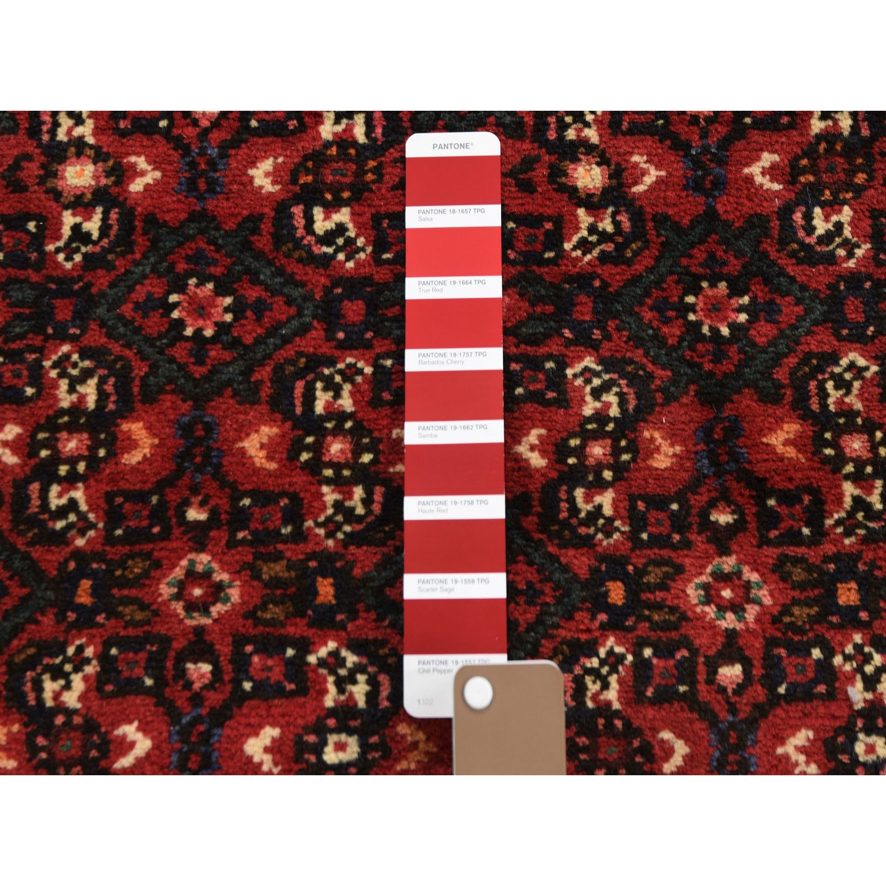 """2'3""""x12'9"""" Red New Persian Hamadan Pure Wool Narrow Runner Hand Knotted Oriental Rug"""