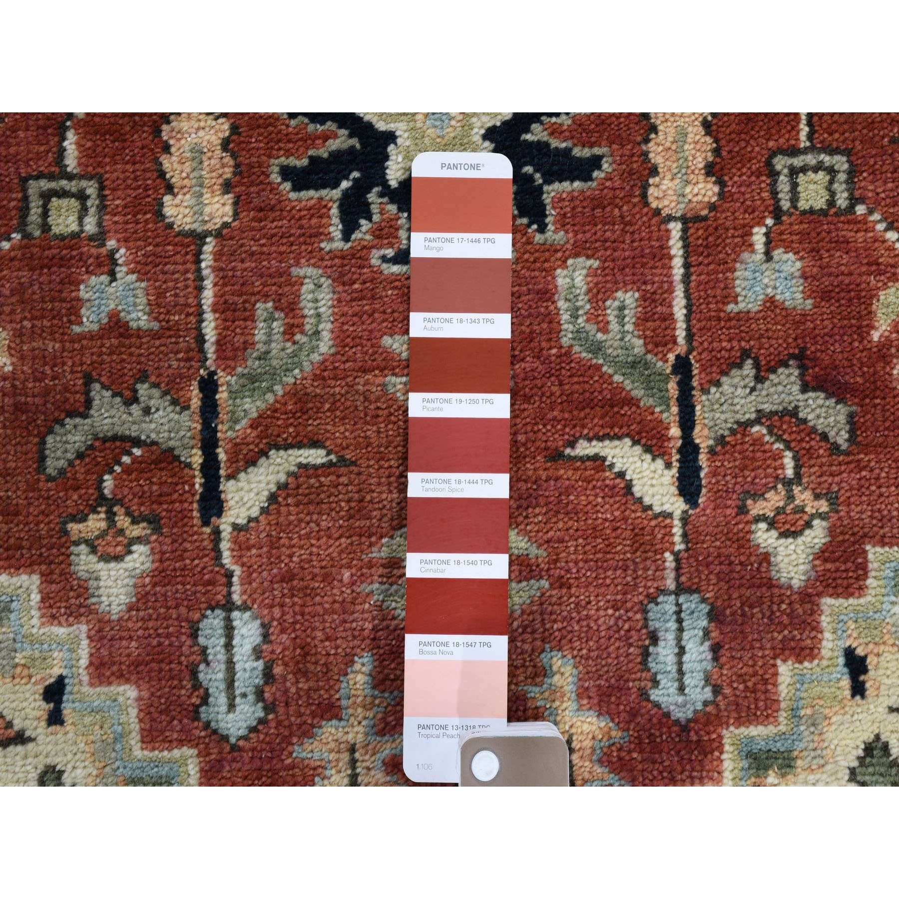"""2'6""""x6' Red Heriz Revival Pure Wool Hand Knotted Runner Oriental Rug"""