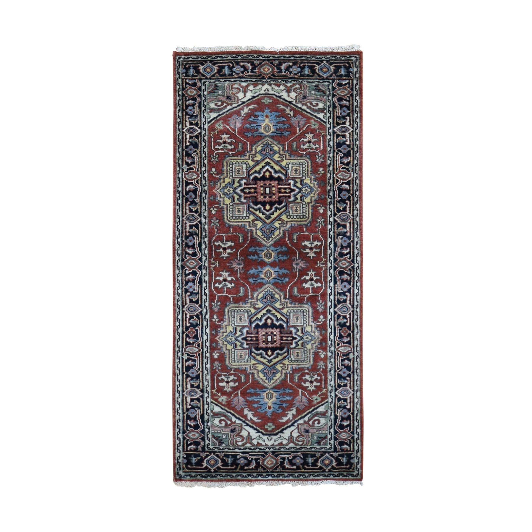 """2'7""""x6'  Red Heriz Revival Pure Wool Runner Hand Knotted Oriental Rug"""