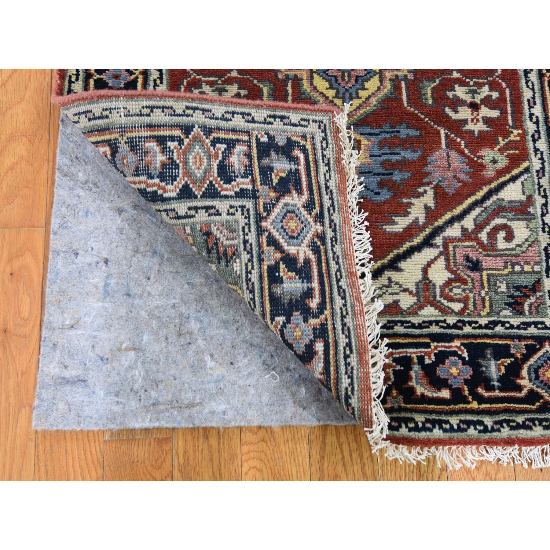 """2'4""""x6' Red Heriz Revival Pure Wool Runner Hand Knotted Oriental Rug"""