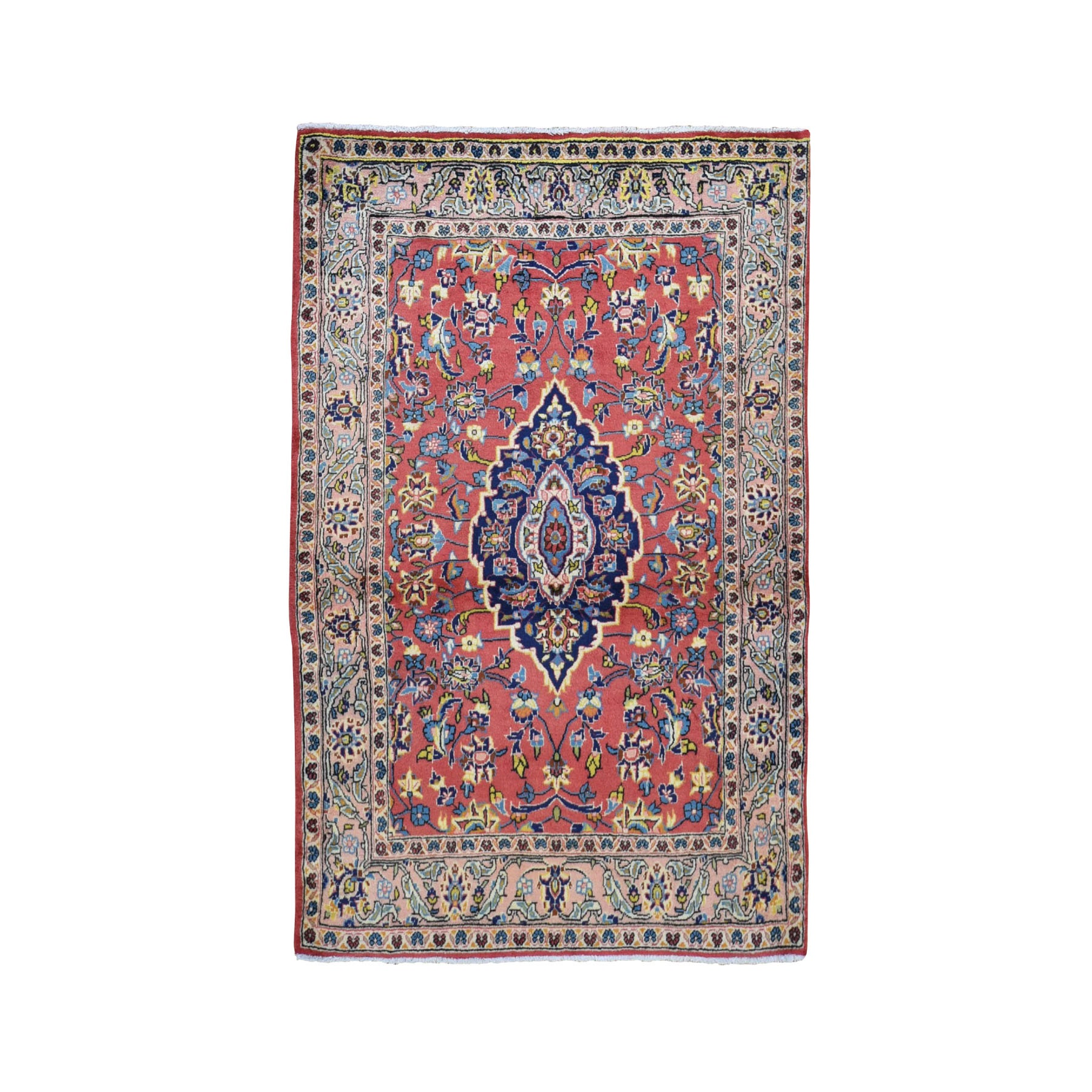 "3'6""x5'3"" Red Vintage Persian Mahal Pure Wool Hand Knotted Oriental Rug"