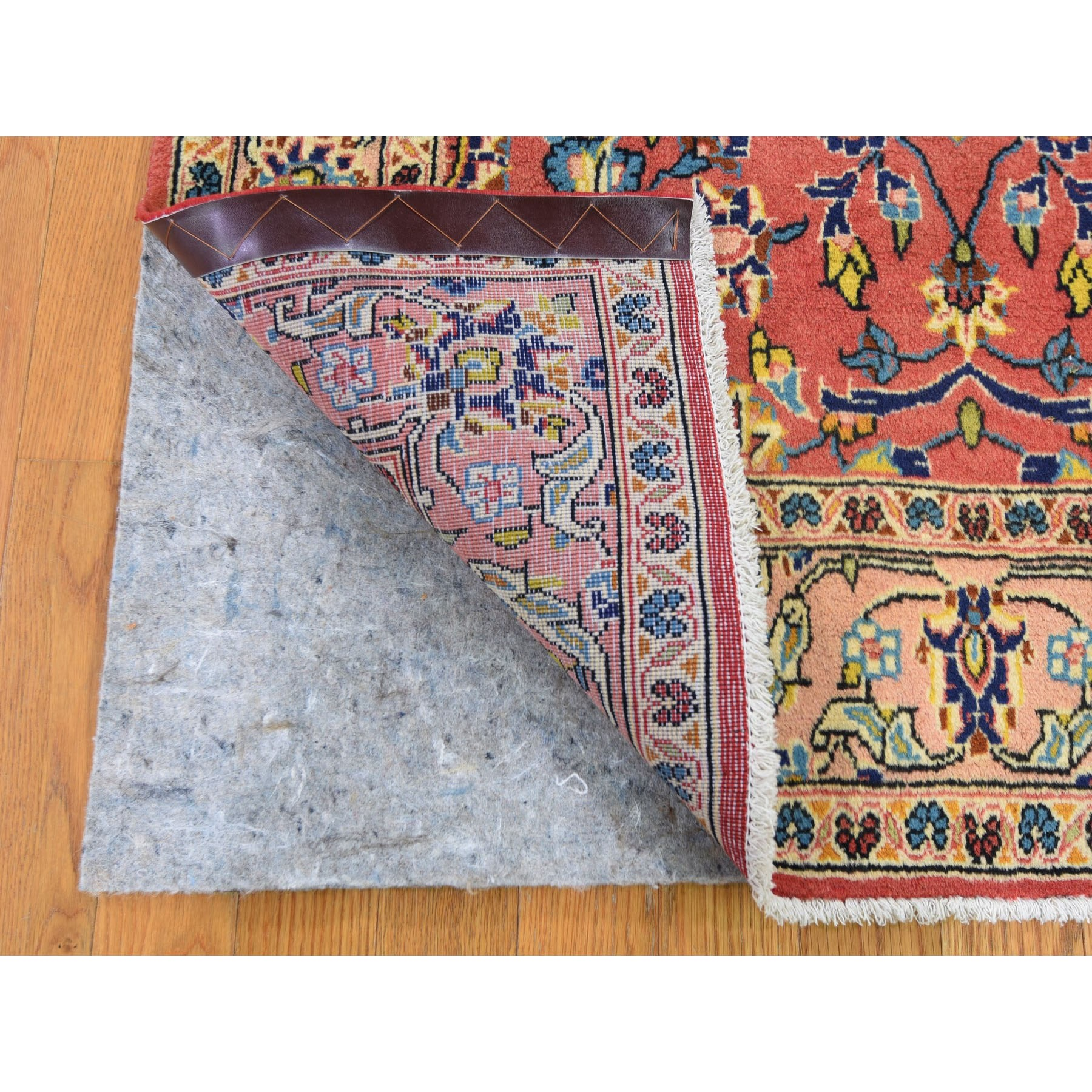 """3'6""""x5'3"""" Red Vintage Persian Mahal Pure Wool Hand Knotted Oriental Rug"""