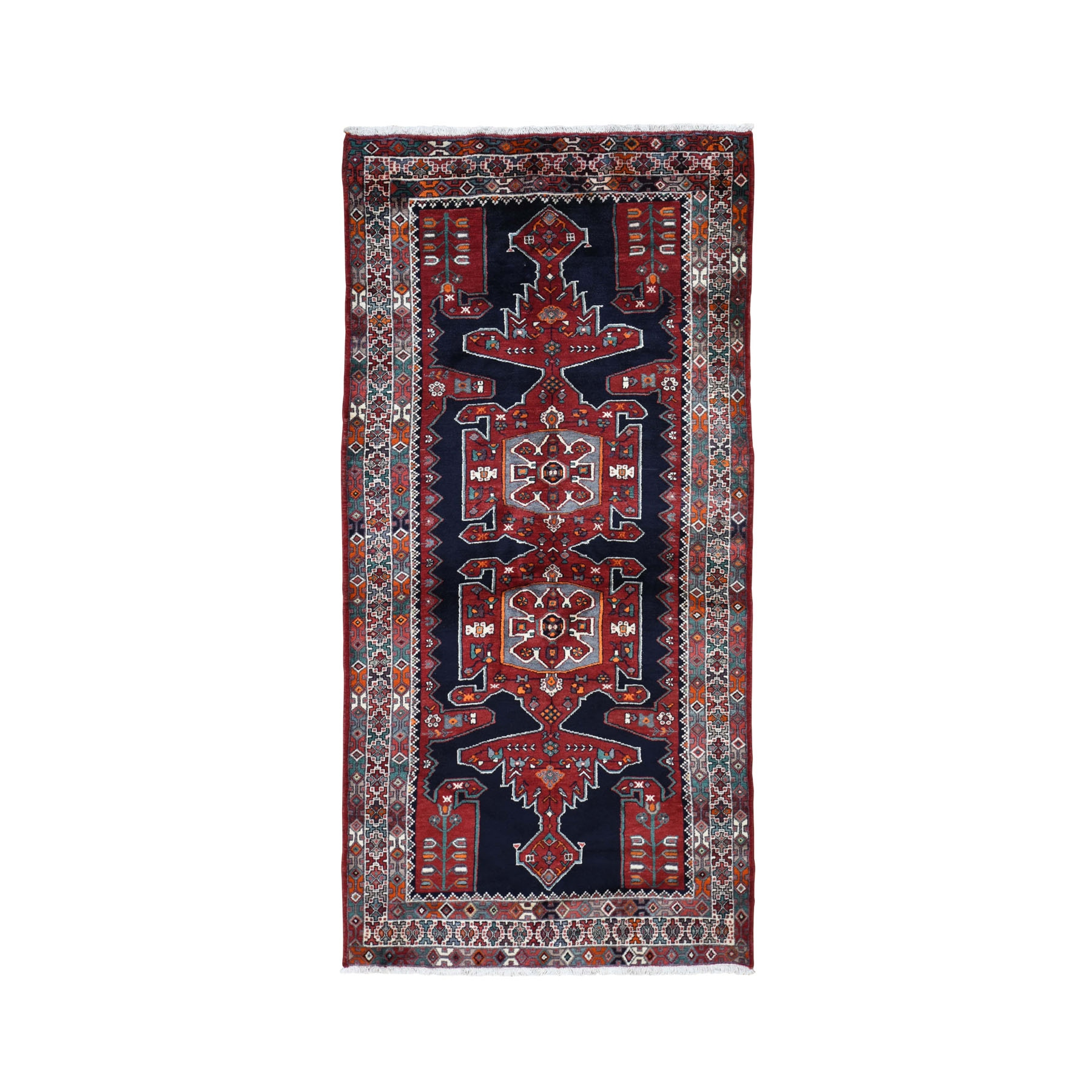 "4'8""x9'7"" Gallery Size Navy Blue New Persian Hamadan Pure Wool Hand Knotted Oriental Rug"